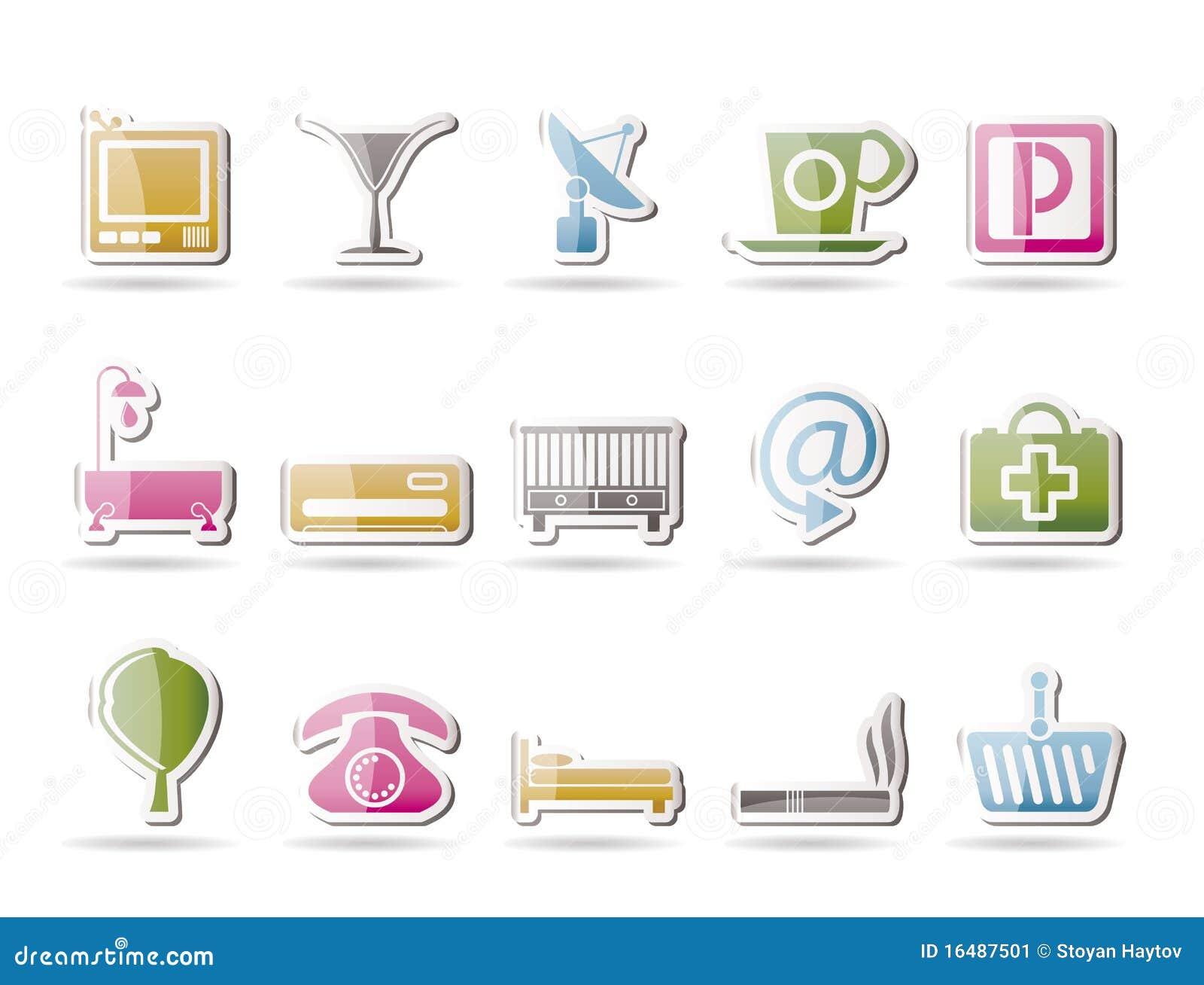 Iconos del hotel y del motel