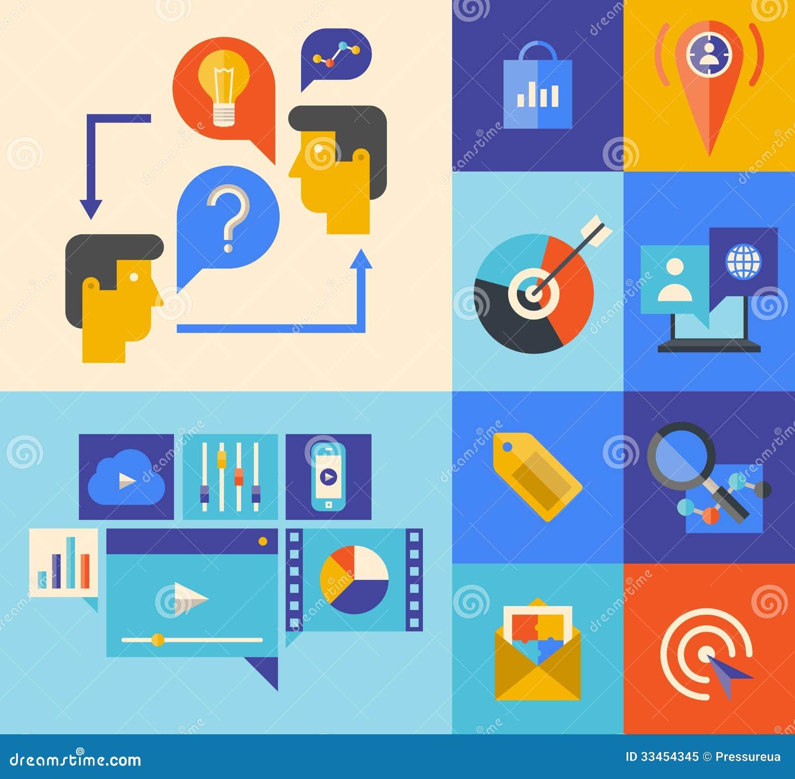 Iconos del márketing y de la reunión de reflexión del sitio web