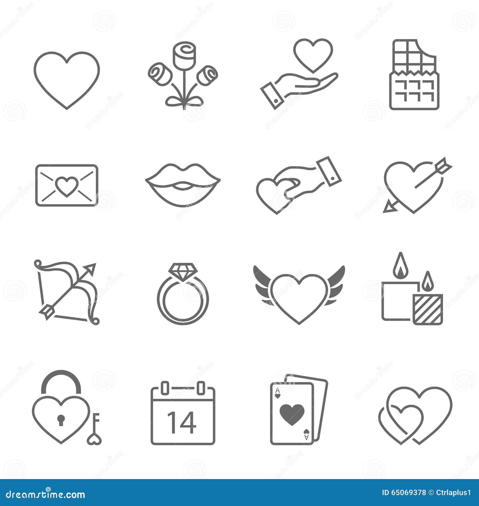 Iconos del movimiento del esquema de las tarjetas del día de San Valentín