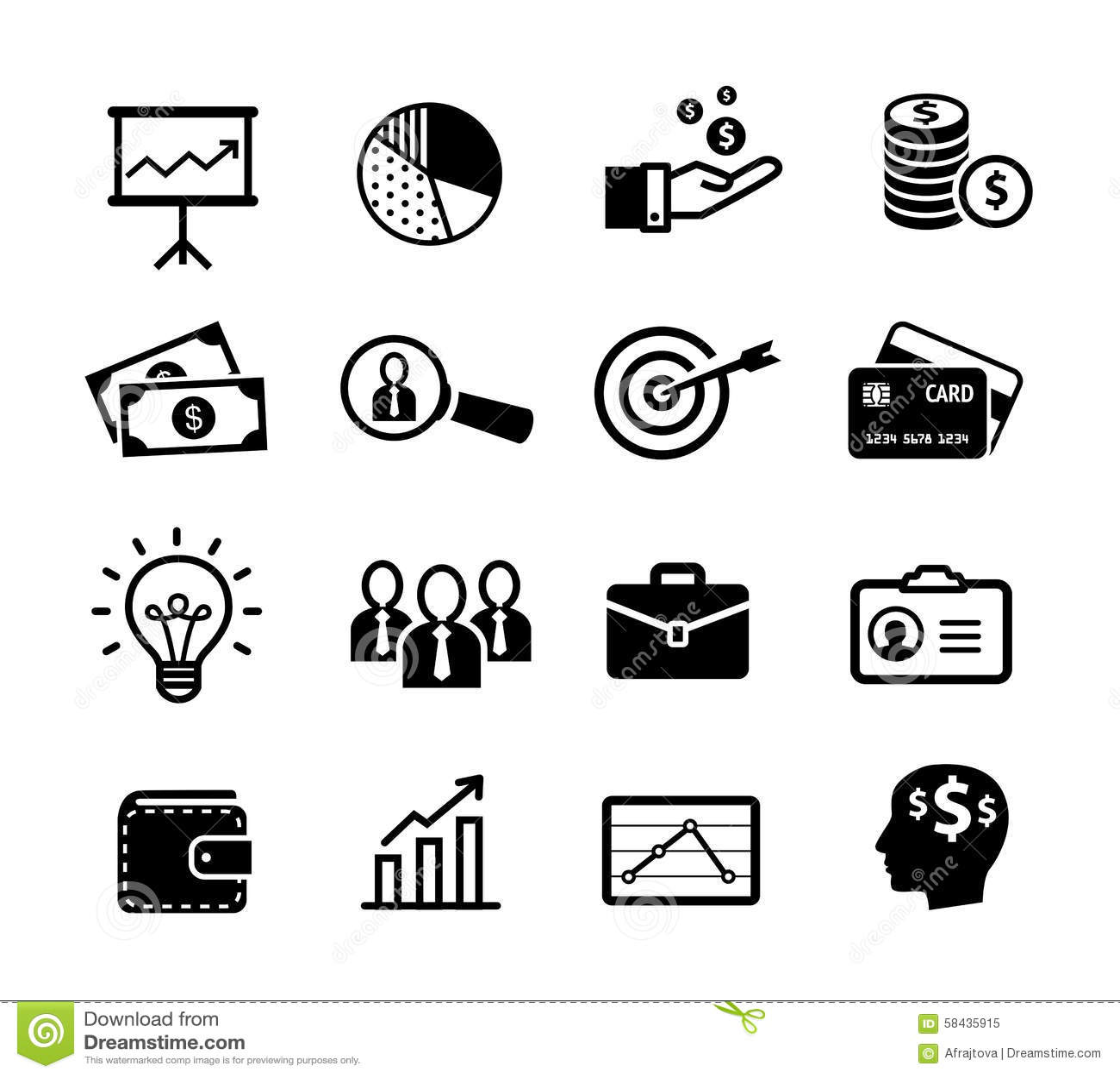 Iconos del negocio - productividad, gestión