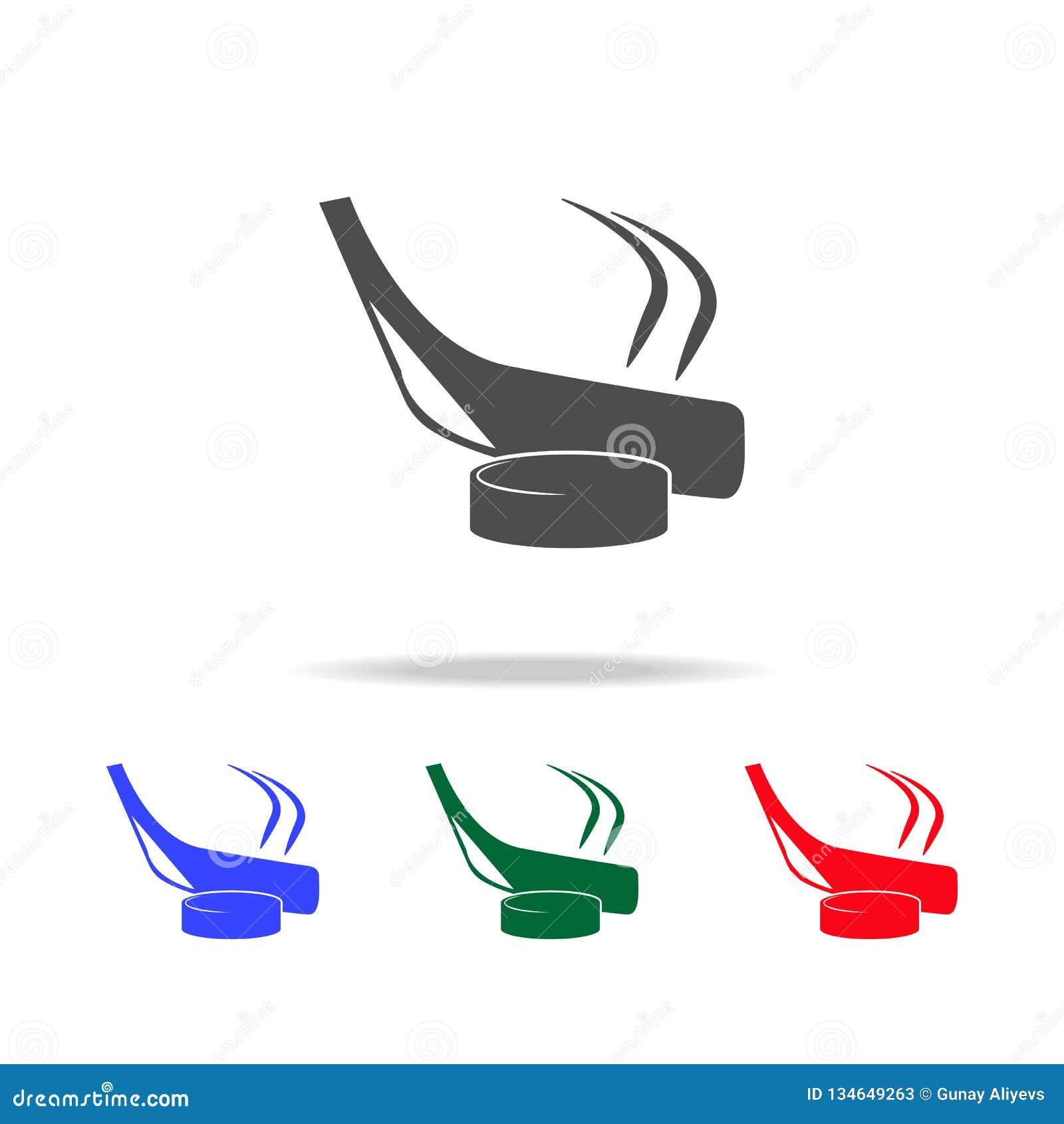 Iconos del palillo y de la lavadora de hockey Elementos del elemento del deporte en iconos coloreados multi Icono superior del di