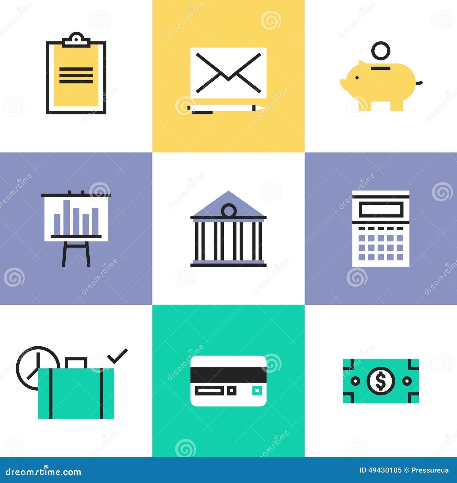 Iconos del pictograma de las finanzas y del dinero fijados