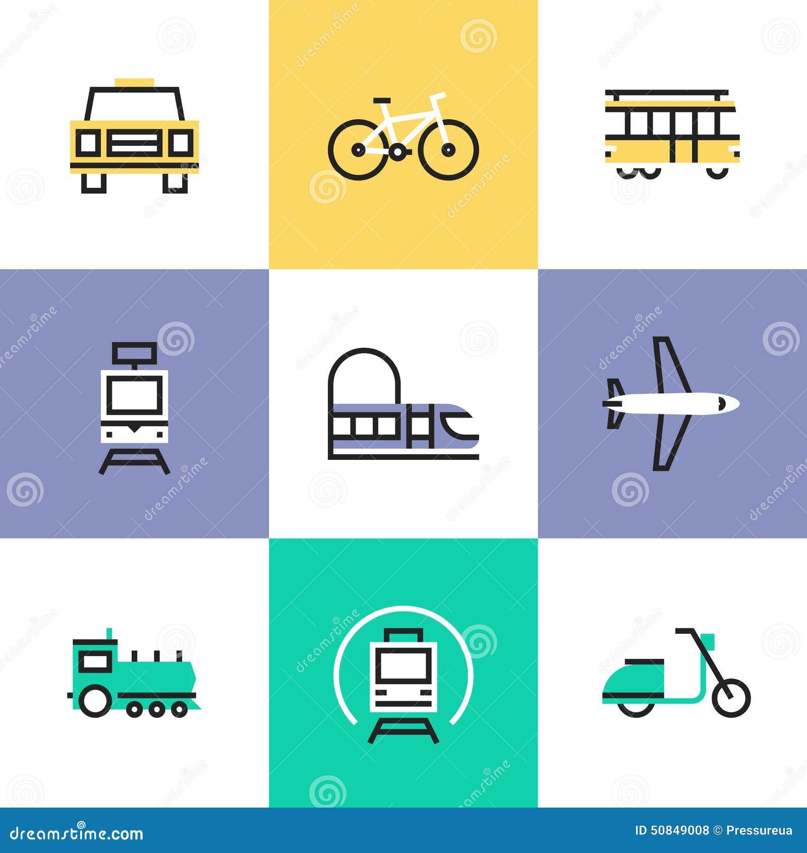 Iconos del pictograma del transporte público fijados