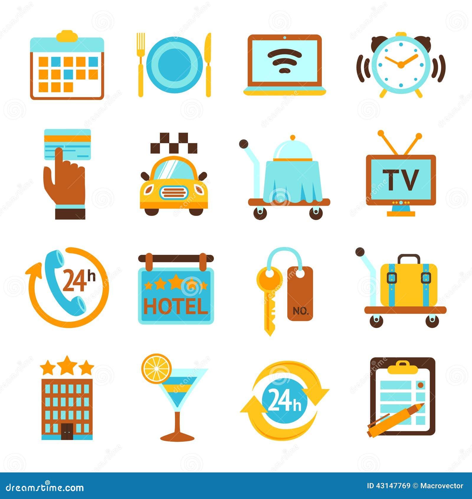Iconos del plano de servicios de hotel fijados ilustraci n for Tipos de servicios de un hotel