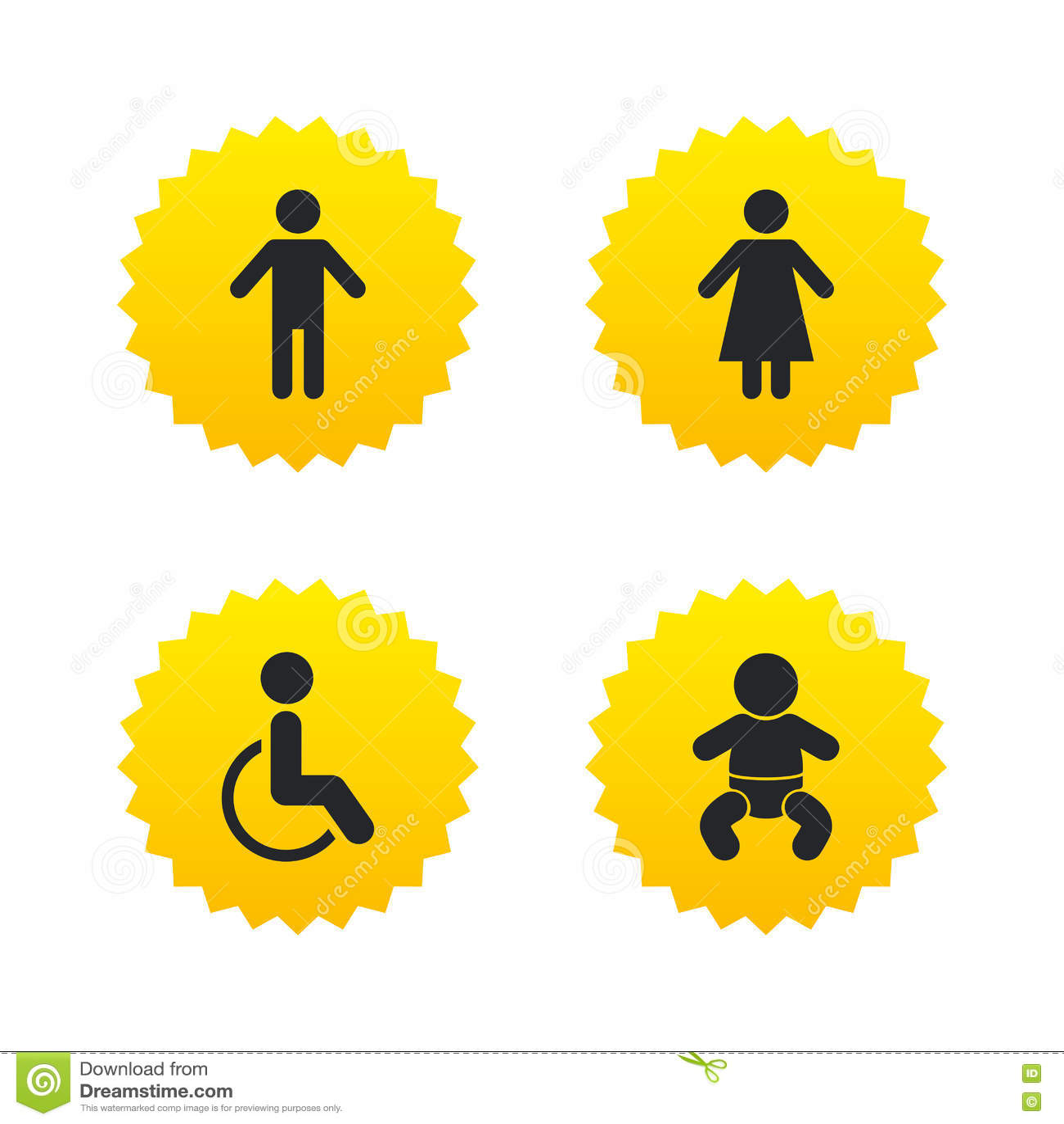 Iconos Del Retrete Del WC Varón Humano O Muestras Femeninas Ilustración del Vector