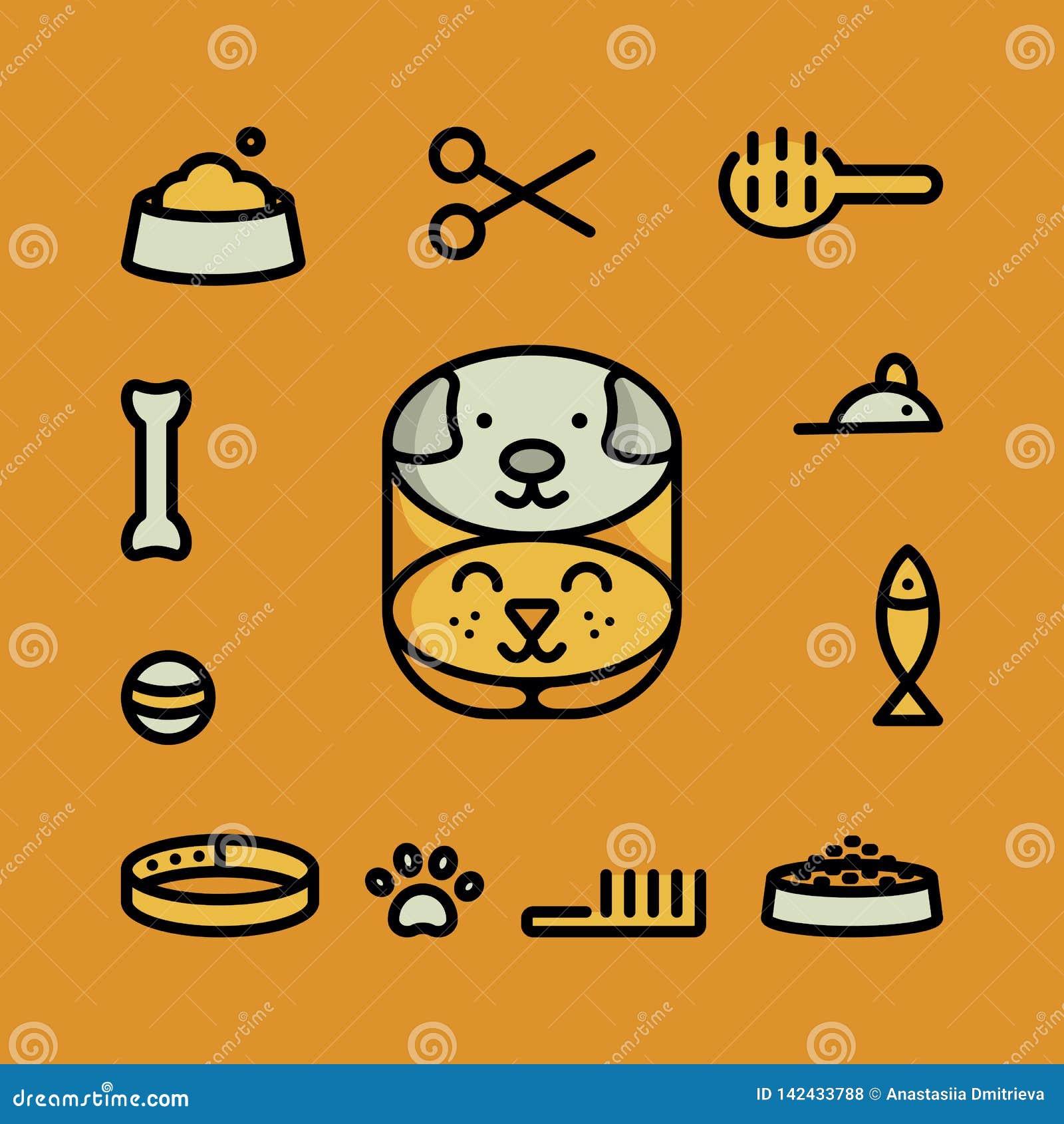 Iconos del símbolo del animal doméstico