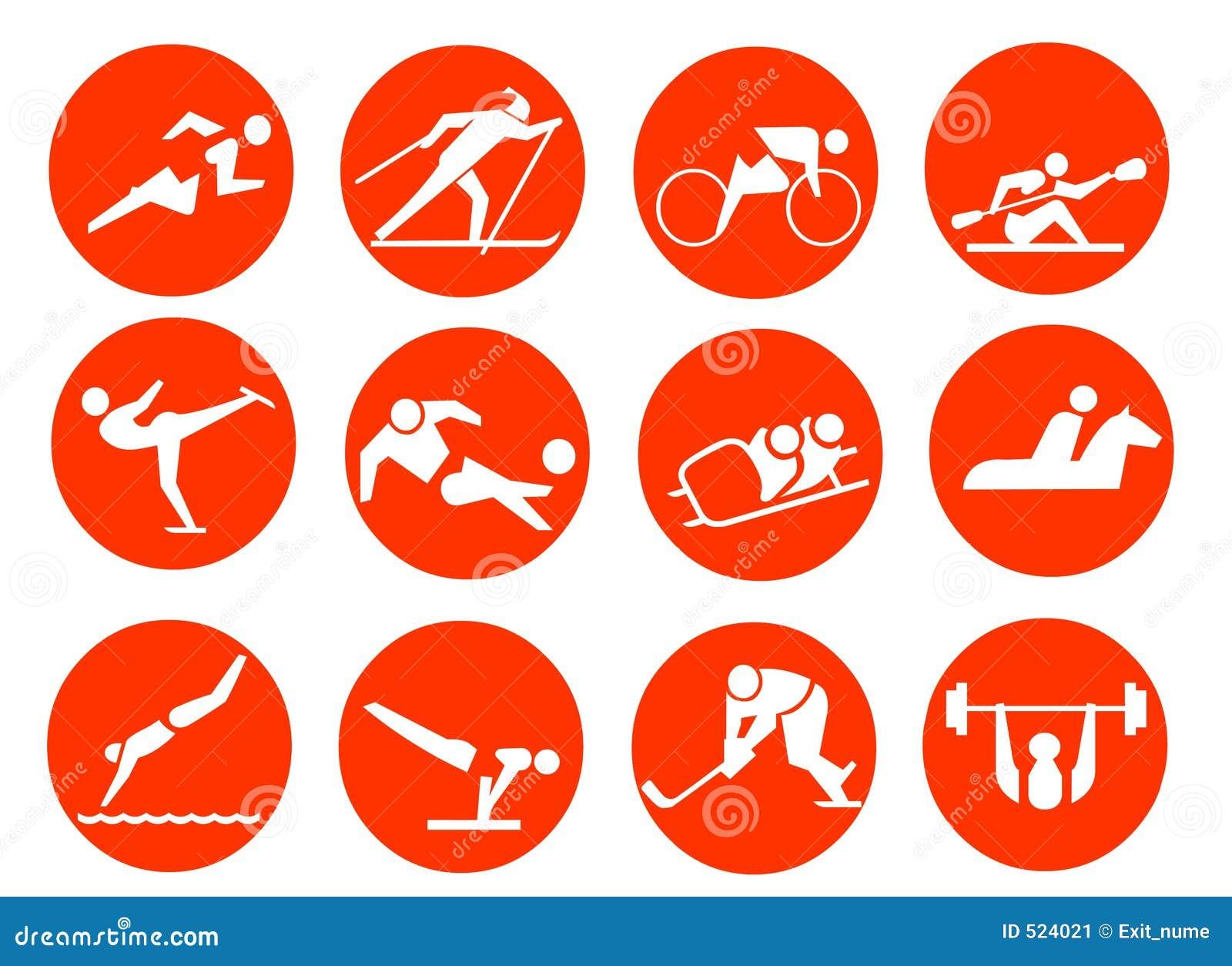 Fondo Con Iconos De Deporte: Iconos Del Símbolo Del Deporte Imagen De Archivo