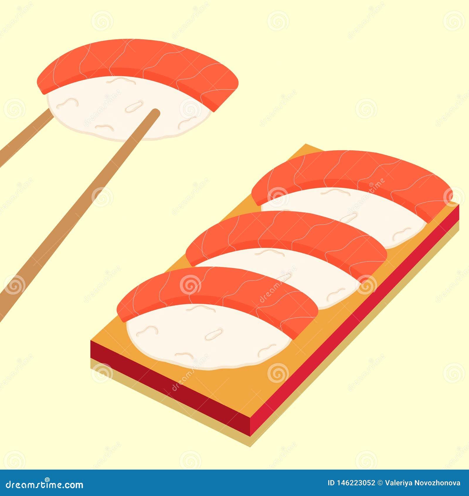 Iconos del sushi fijados Alimento asi?tico Comida plana del estilo