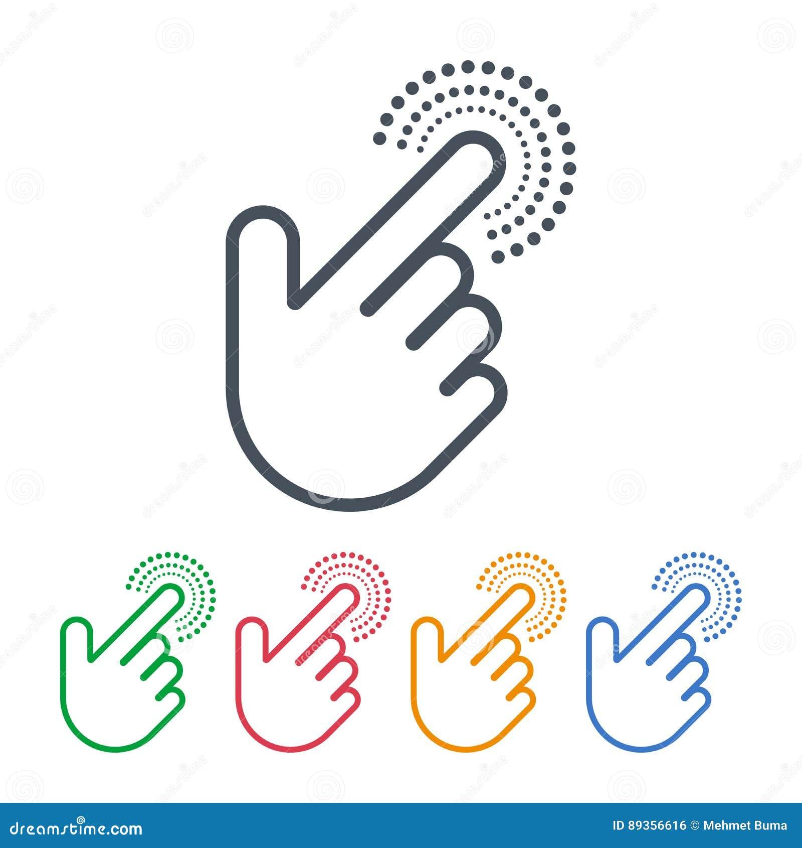 Iconos del tecleo con diseño de los cursores de la mano Símbolos del indicador