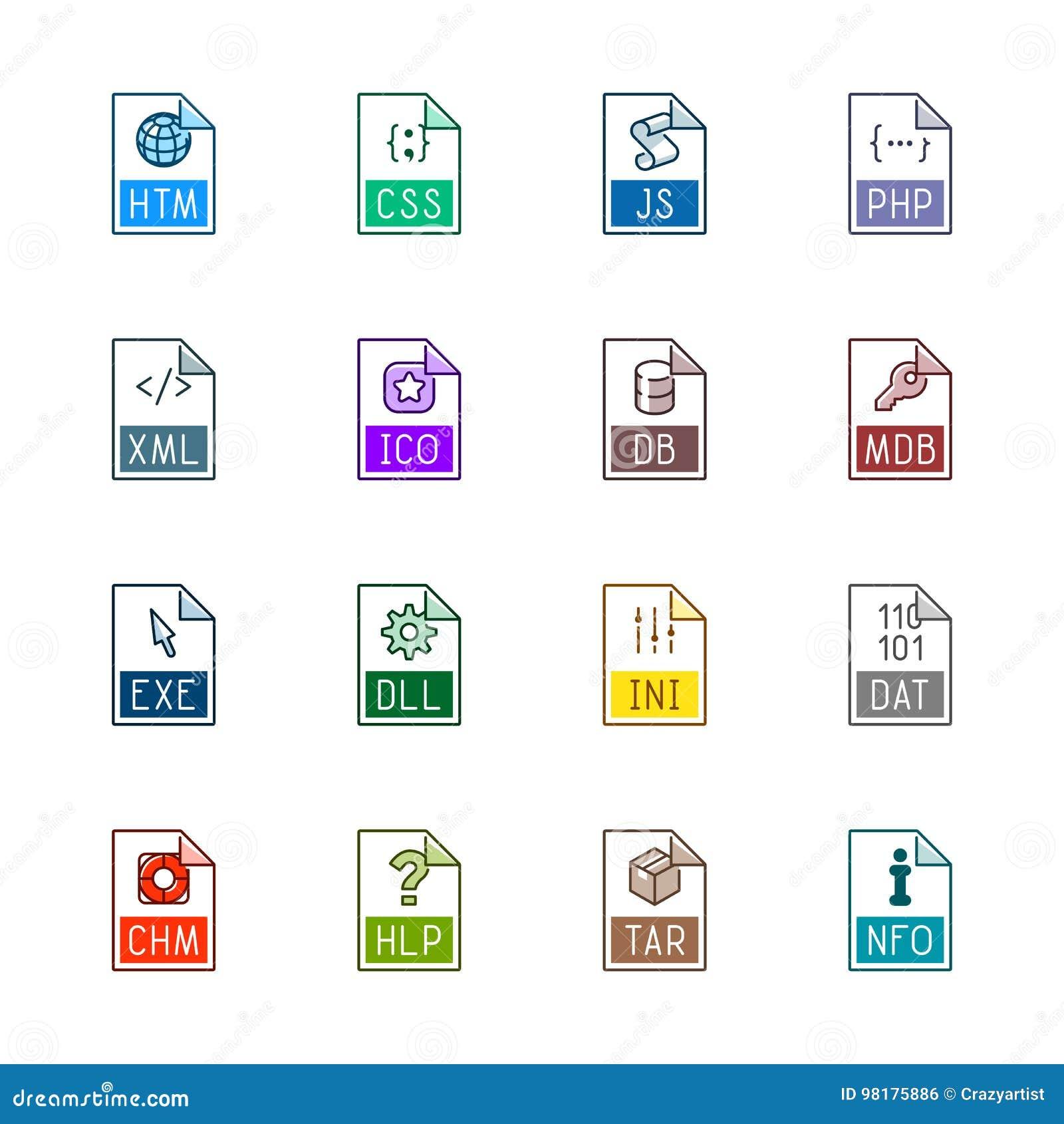 Iconos del tipo de archivo: Sitios web y usos - Linne Color