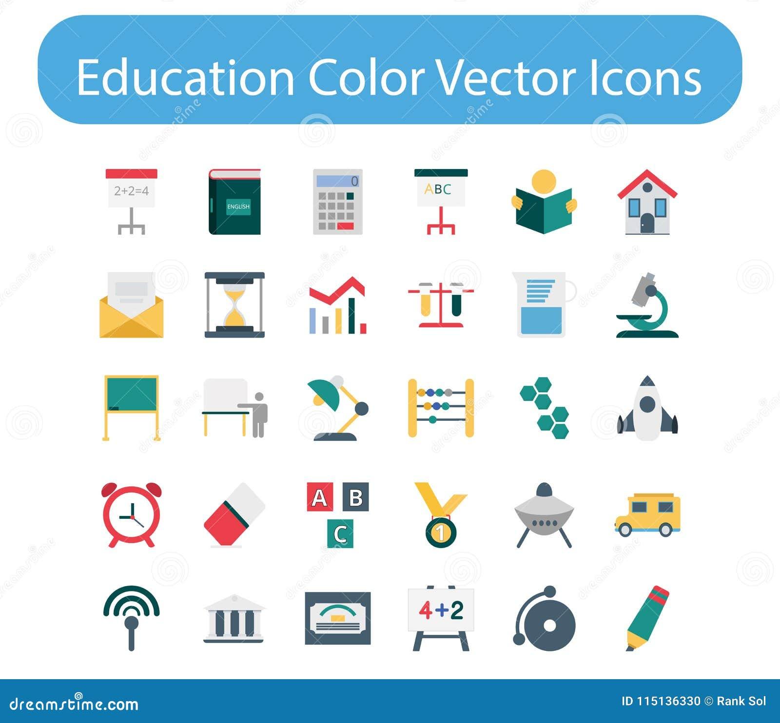 Iconos del vector del color de la educación