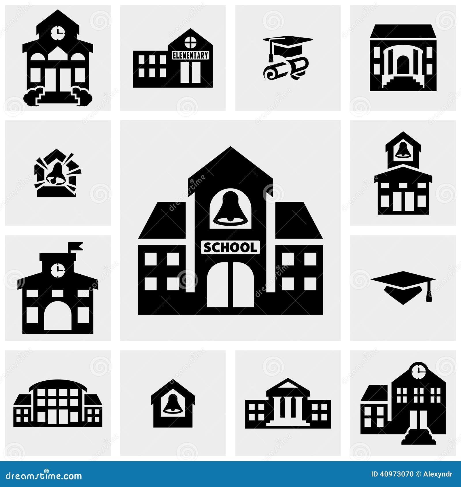 Iconos del vector de la construcción de escuelas fijados en gris