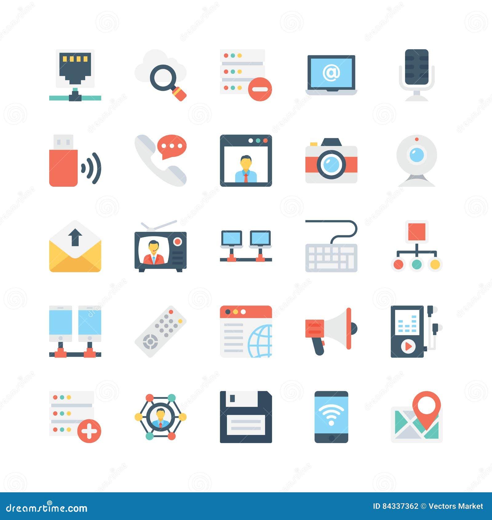 Iconos 3 del vector de la red y de las comunicaciones