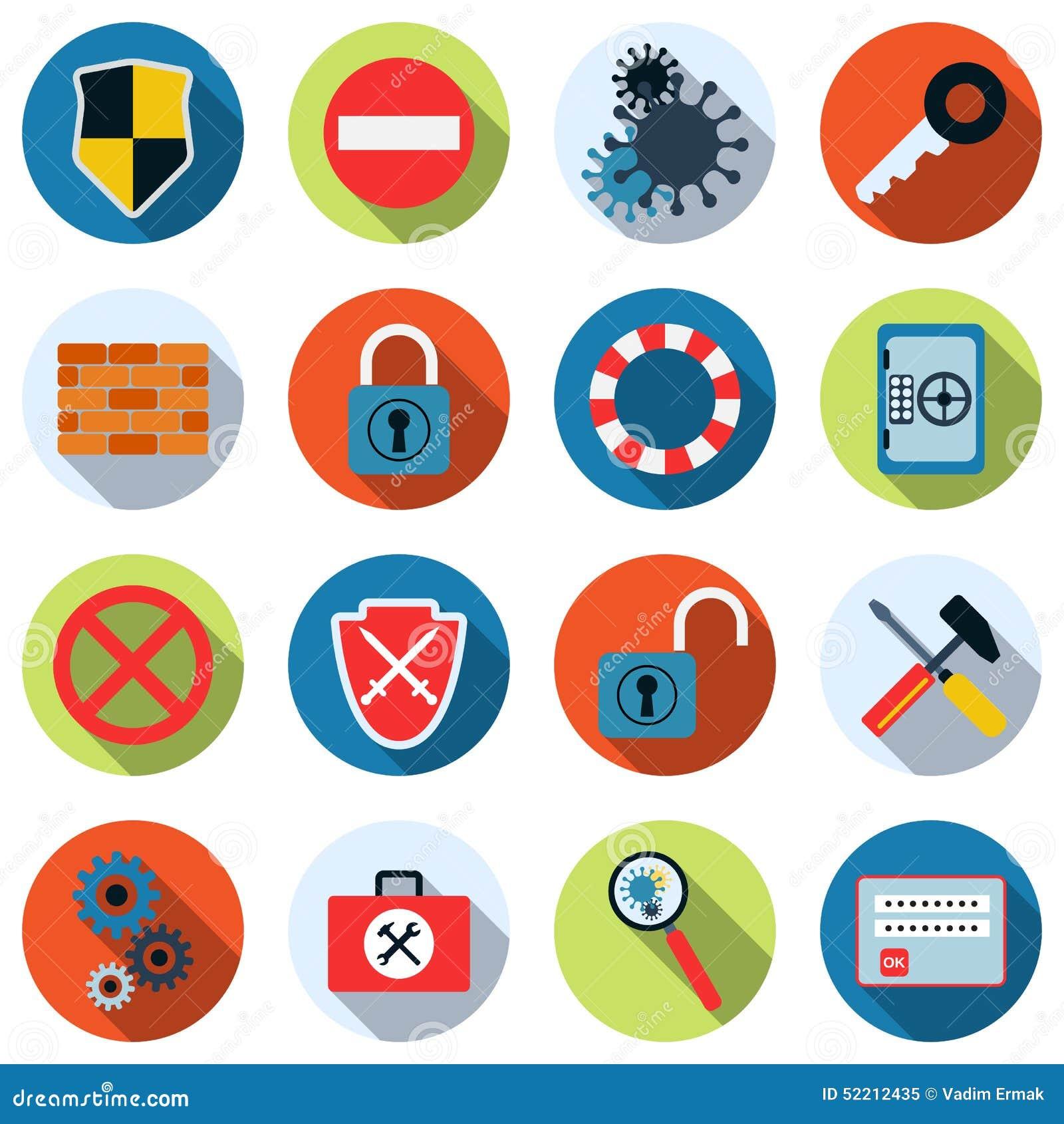 Iconos del vector de la seguridad informática
