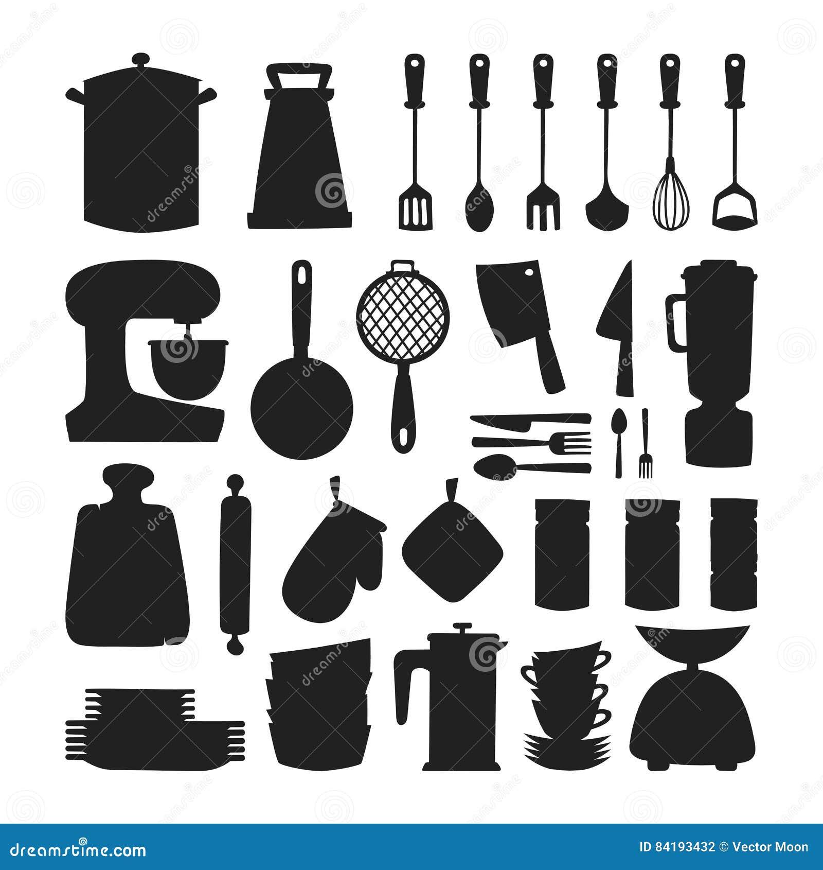 Iconos del vector de la silueta del art culos de cocina for Remates articulos de cocina