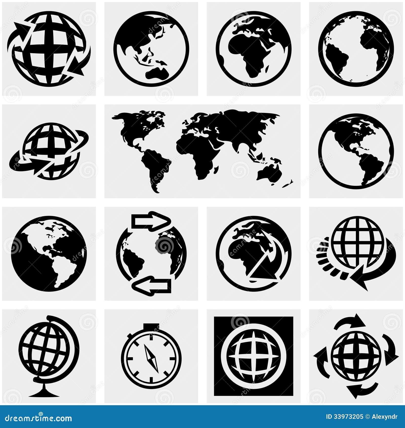 Iconos del vector de la tierra del globo fijados en gris.