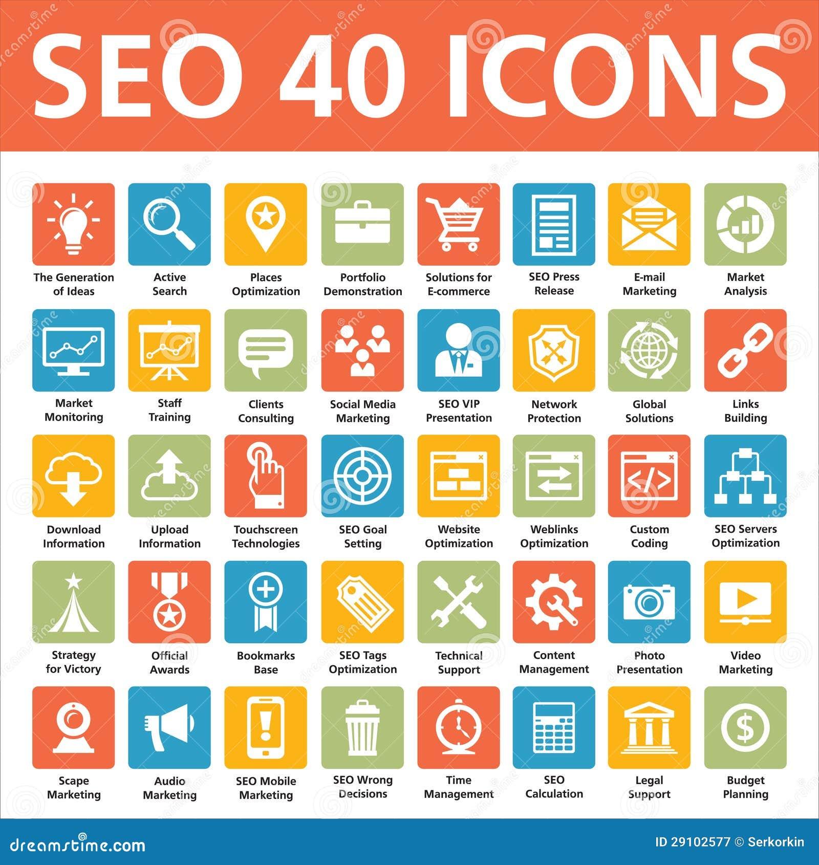 Iconos del vector de SEO 40
