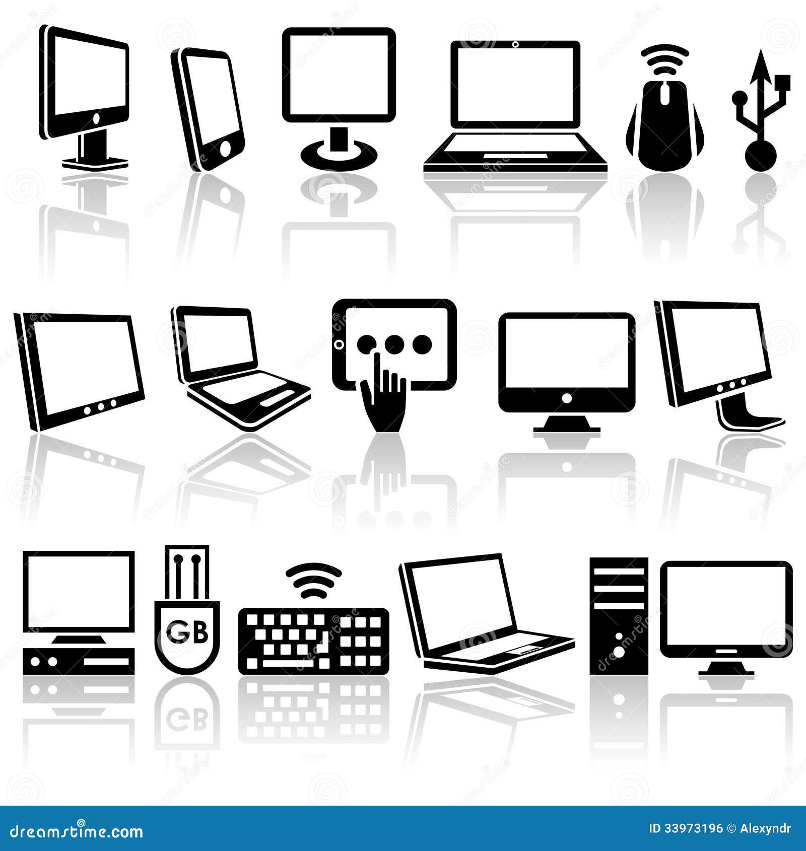 Iconos del vector del ordenador fijados. EPS 10.