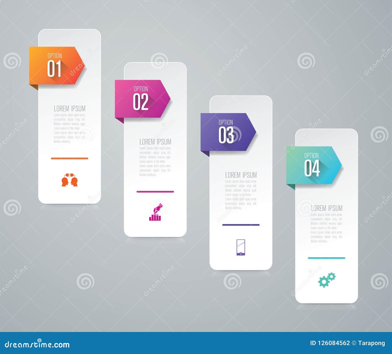 Iconos del vector y del negocio del diseño de Infographics con 4 opciones