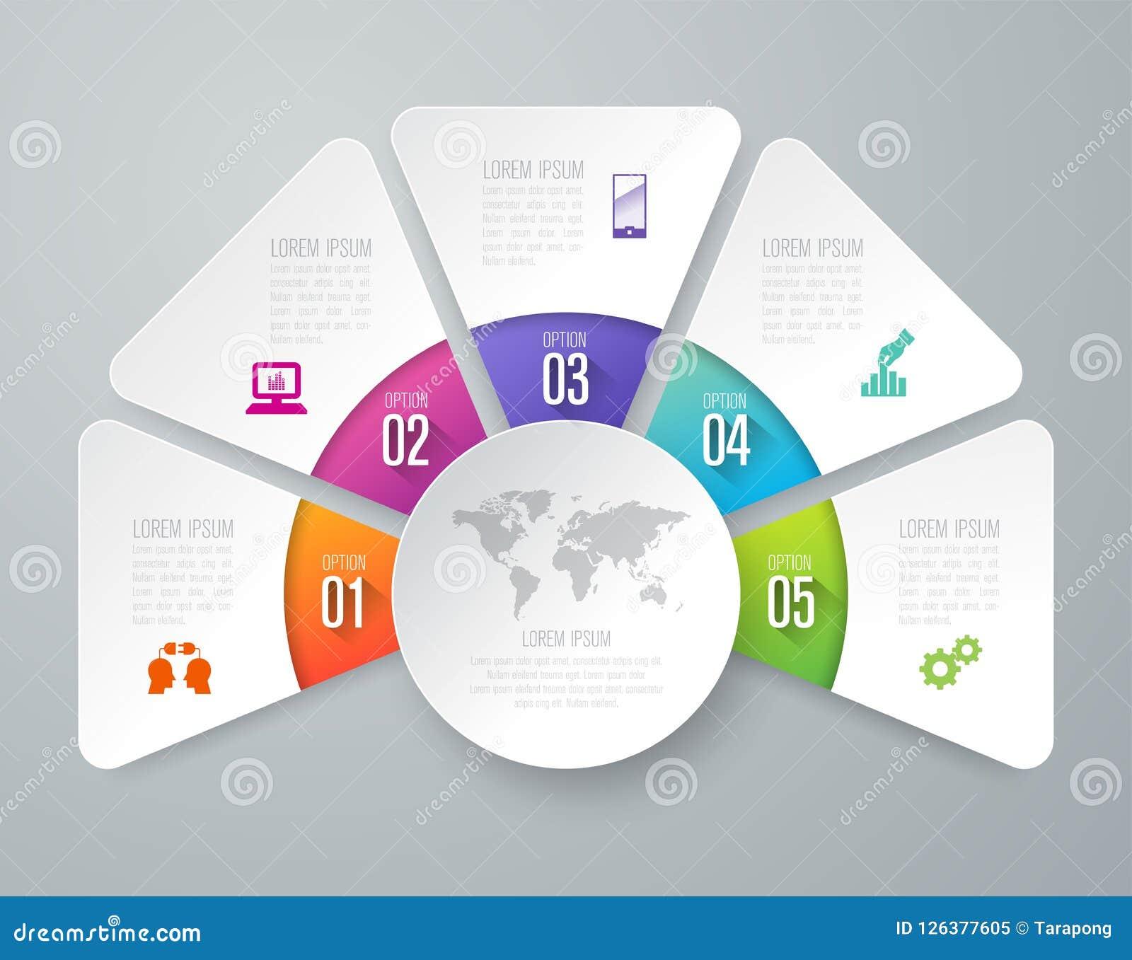Iconos del vector y del negocio del diseño de Infographics con 5 opciones