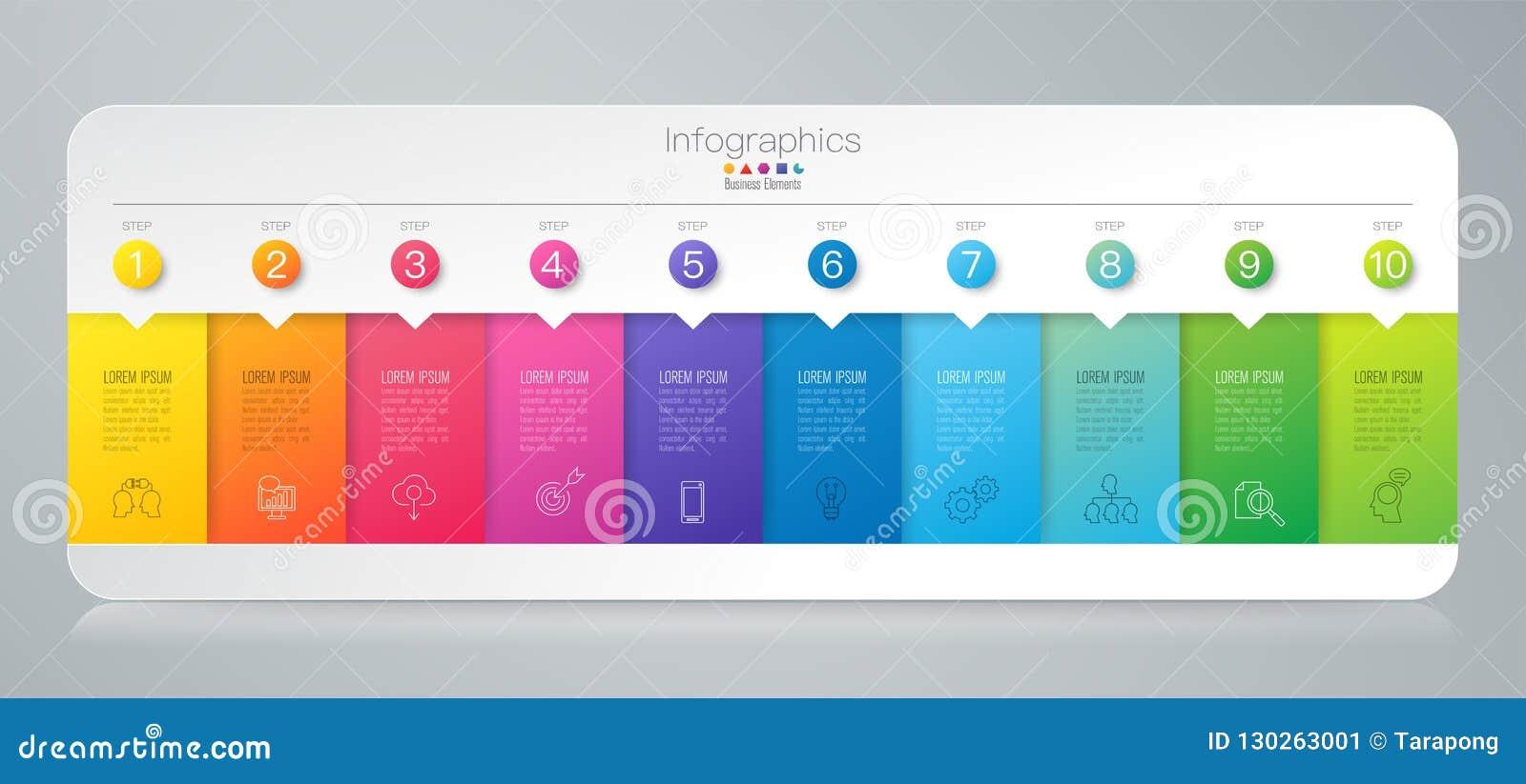 Iconos del vector y del negocio del diseño de Infographics con 10 opciones