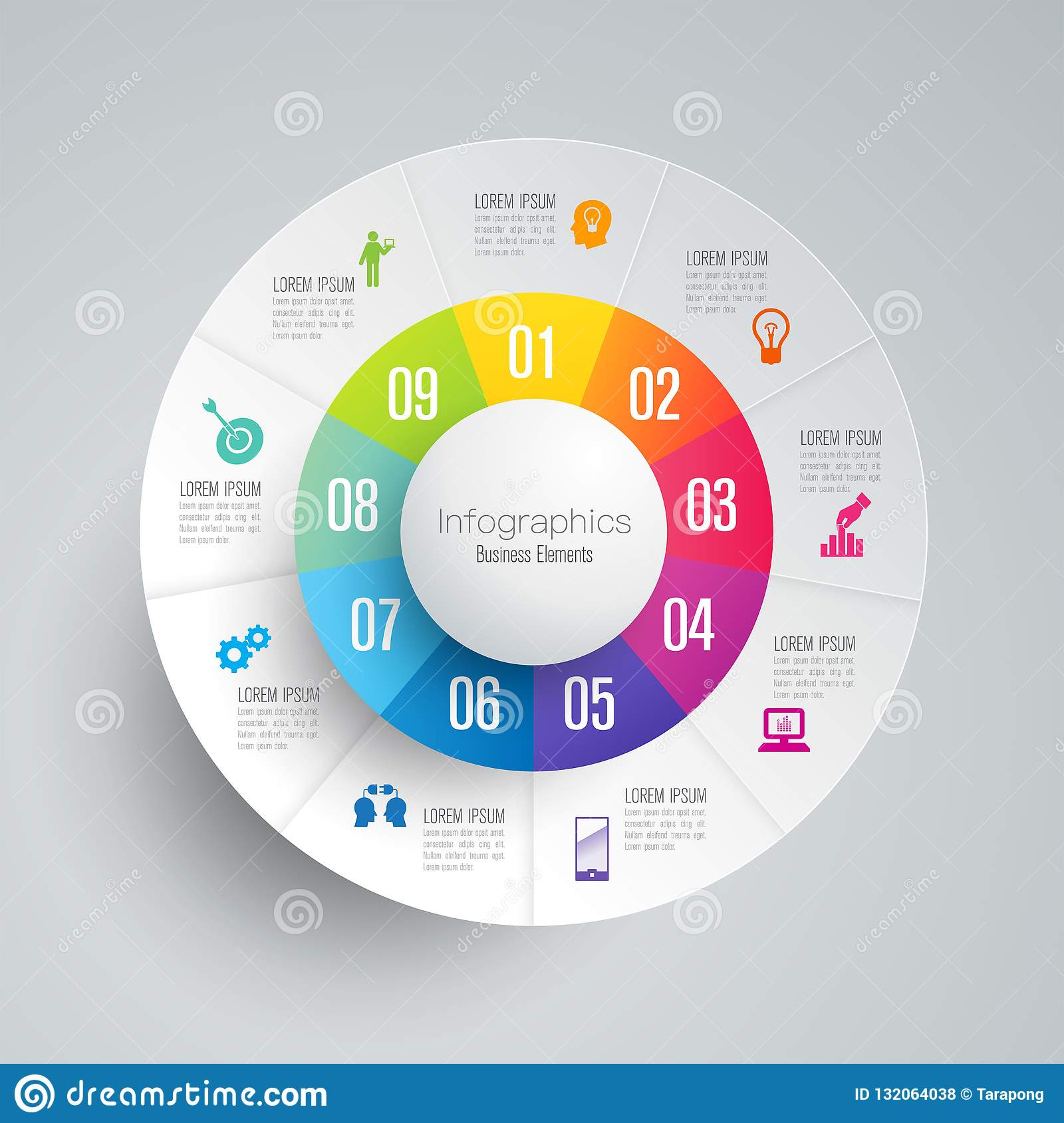 Iconos del vector y del negocio del diseño de Infographics con 9 opciones