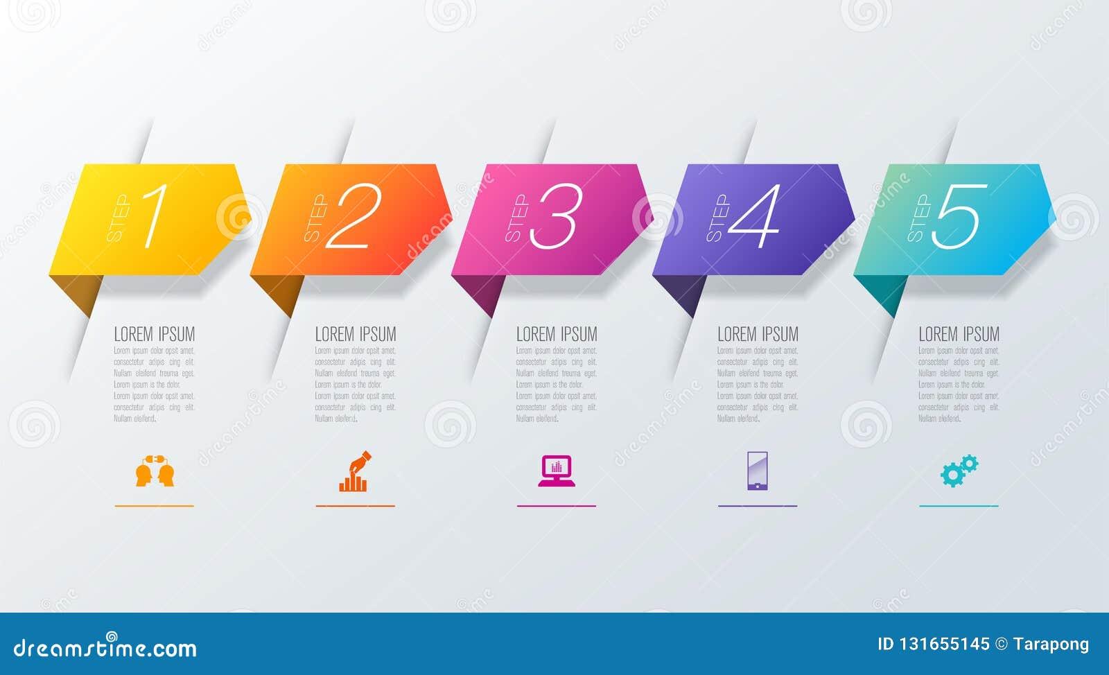 Iconos del vector y del negocio del diseño del infographics de la cronología con 5 opciones