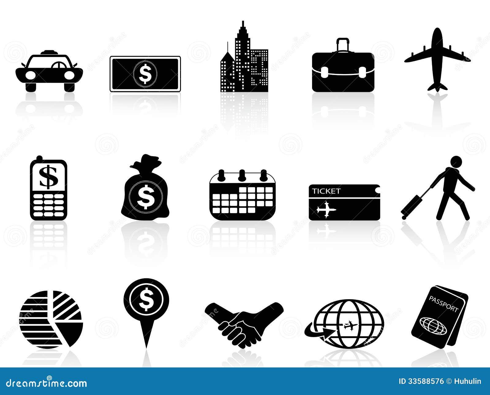 Iconos del viaje de negocios