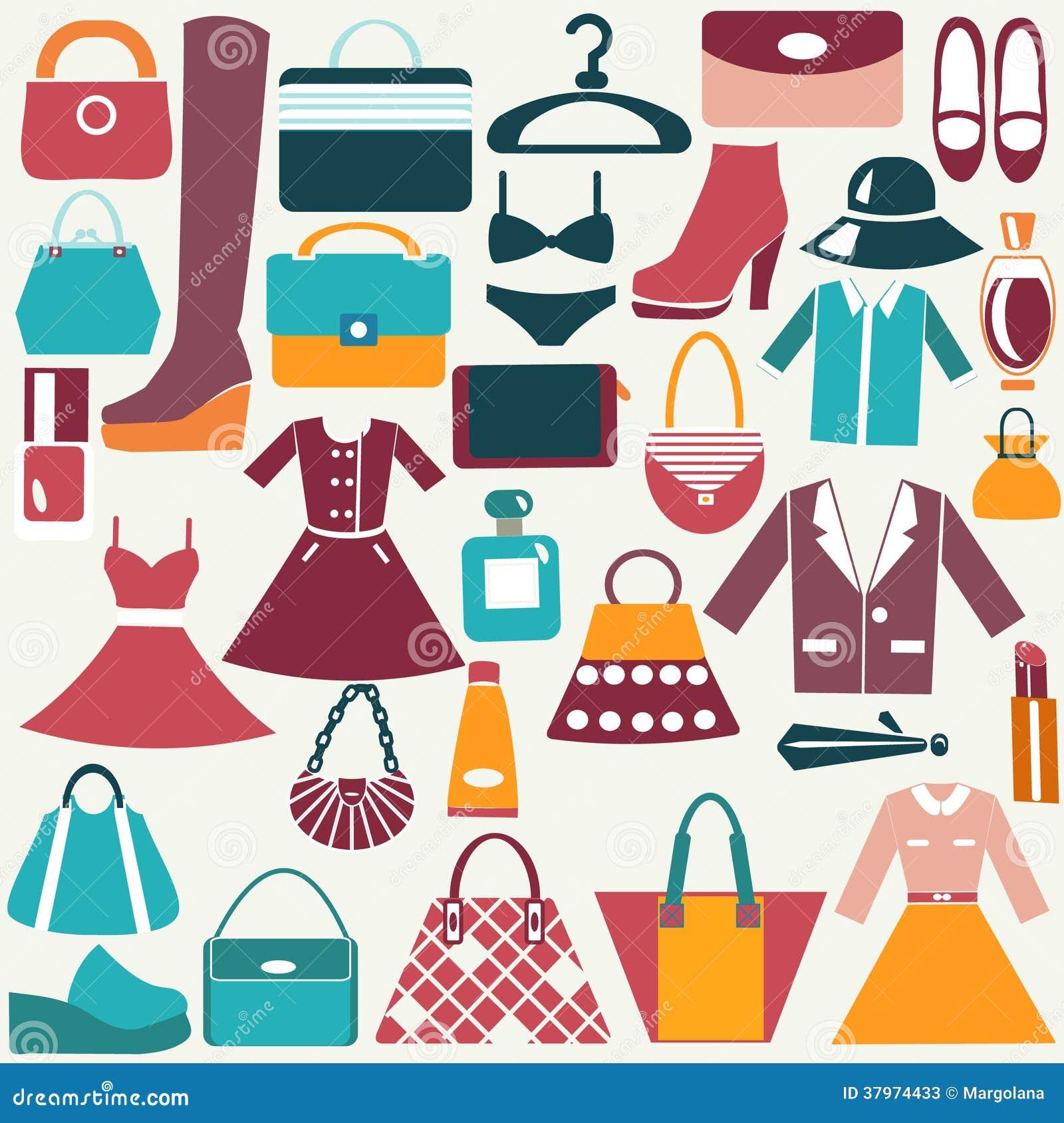 Iconos del vintage de la ropa y de los accesorios