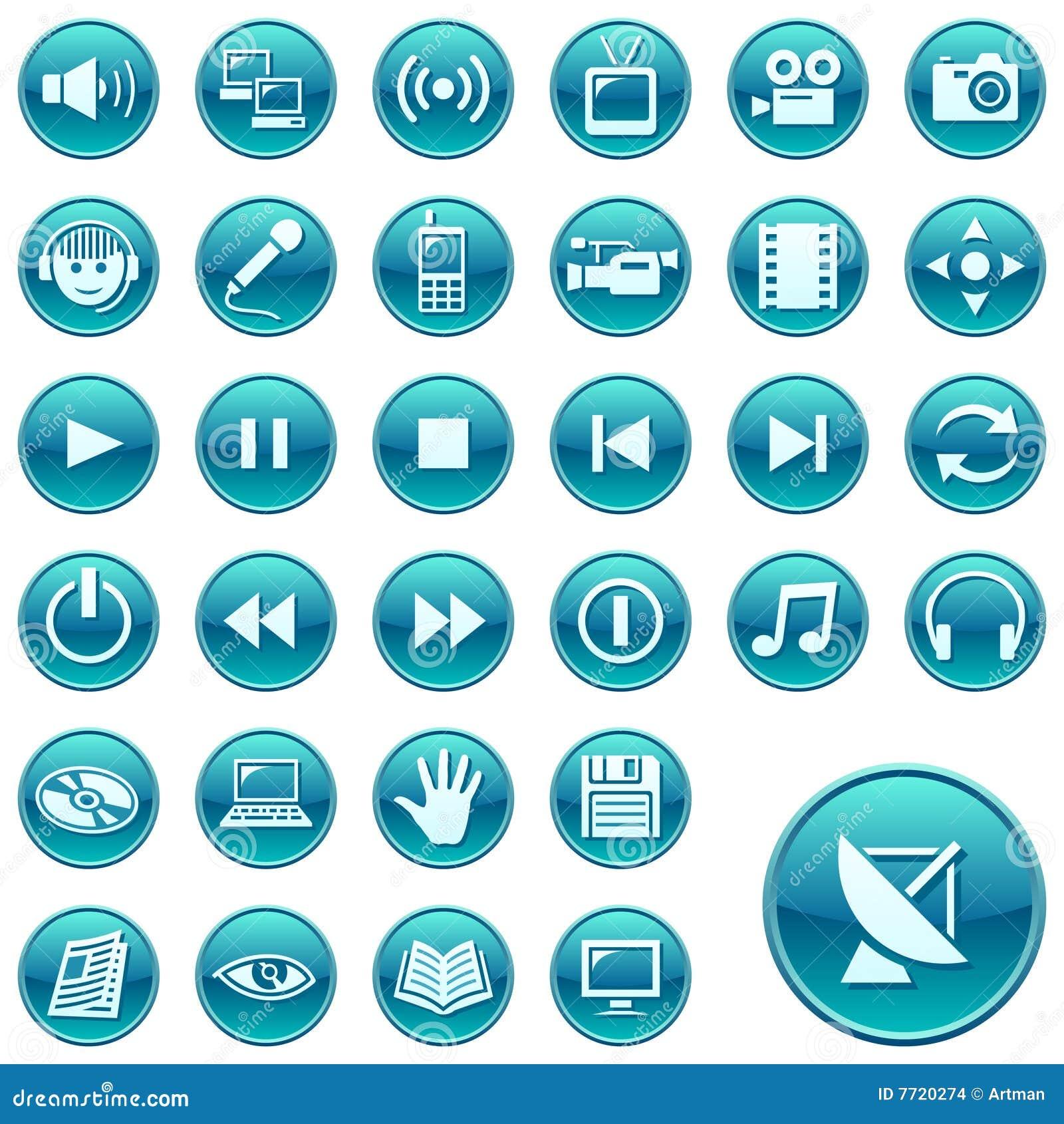 Iconos del web botones redondos 3 ilustraci n del vector for Icono boton