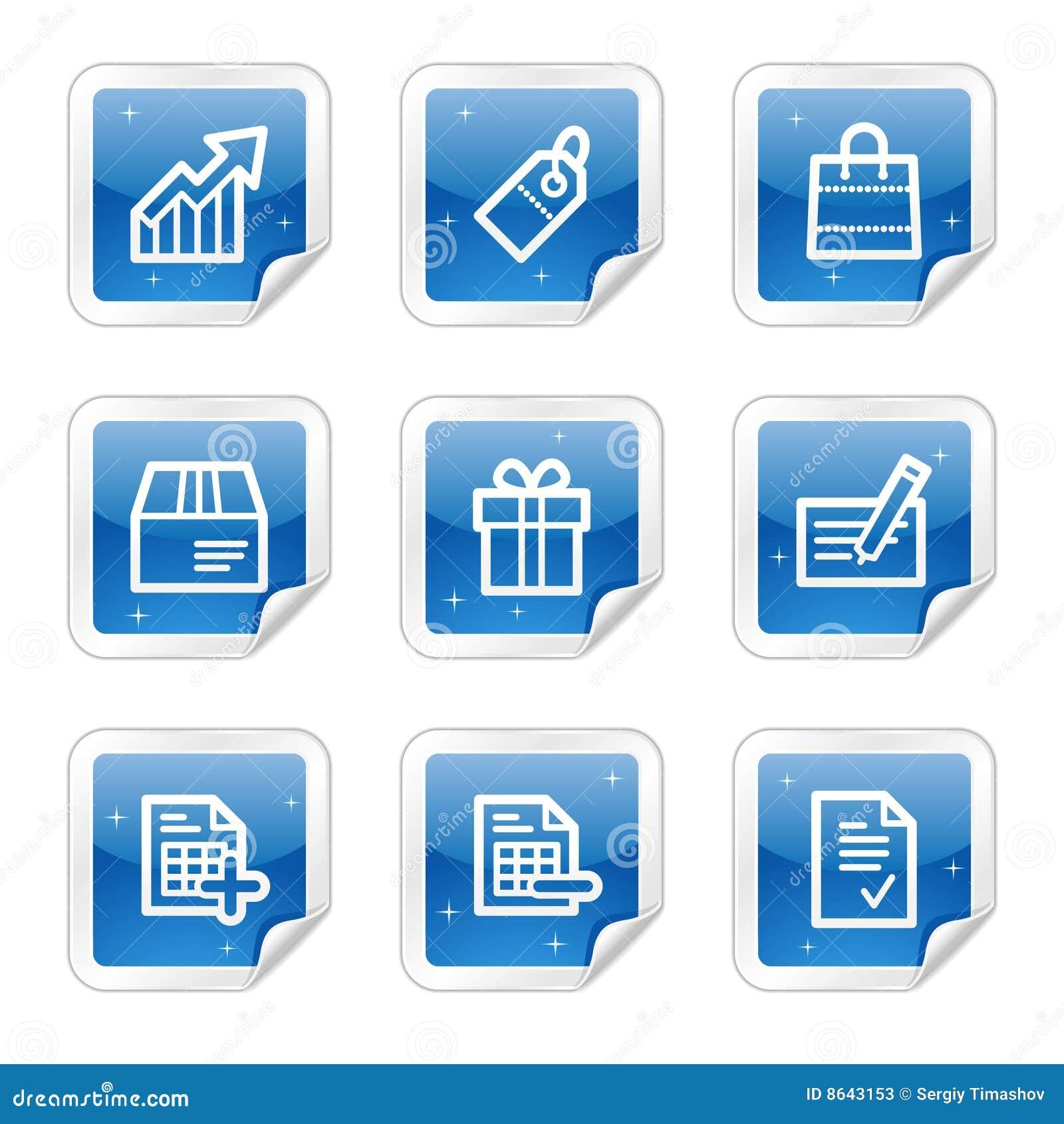 Iconos del web de las compras serie azul de la etiqueta - Central de compras web ...