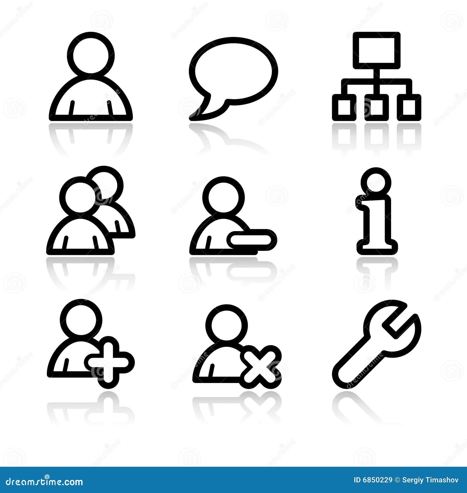 Iconos del Web del contorno de los utilizadores