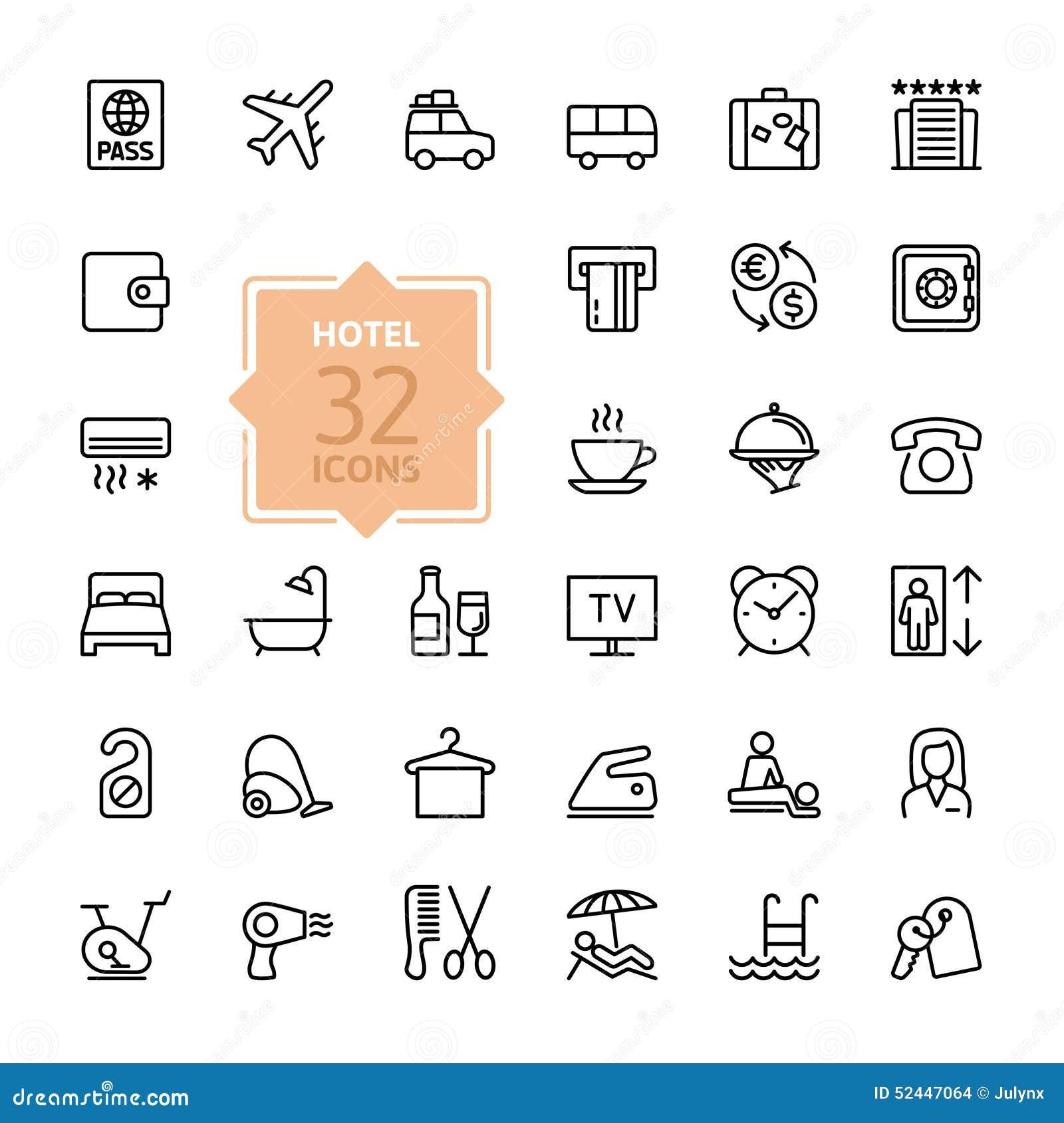 Iconos del web del esquema fijados servicios de hotel for Tipos de servicios de un hotel