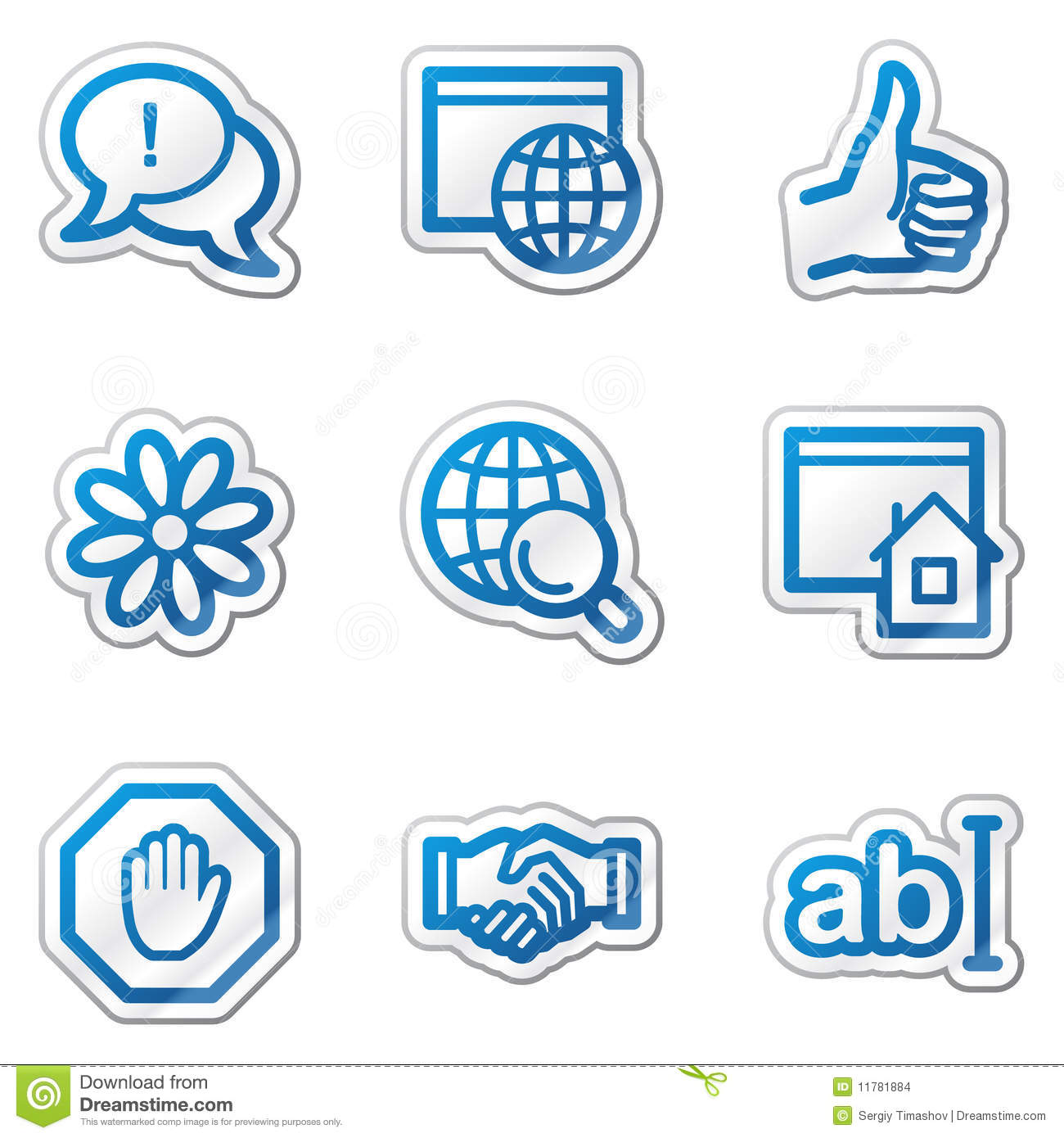 Iconos del web del internet serie azul de la etiqueta for Del website