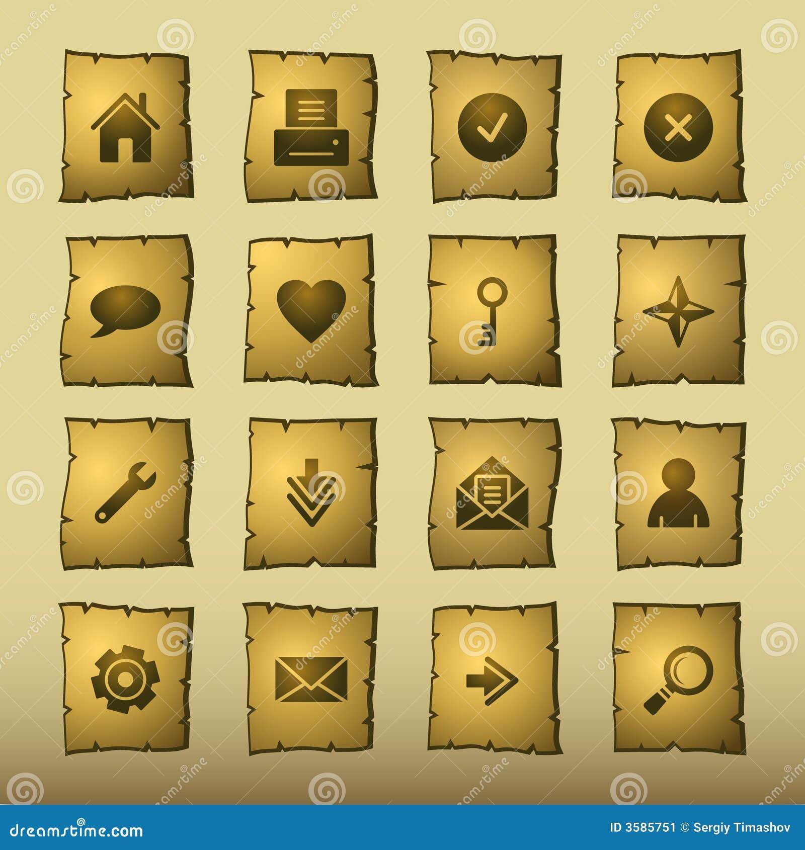 Iconos del Web del papiro
