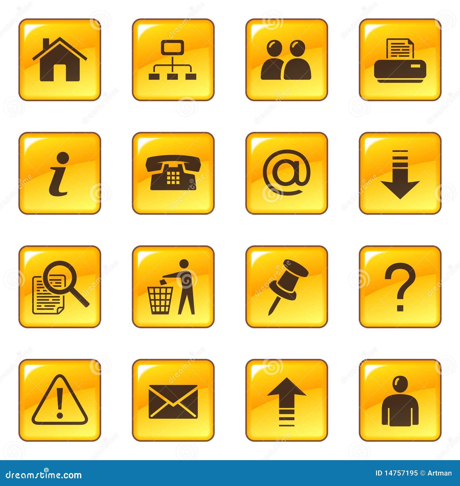 Iconos del Web en los botones brillantes