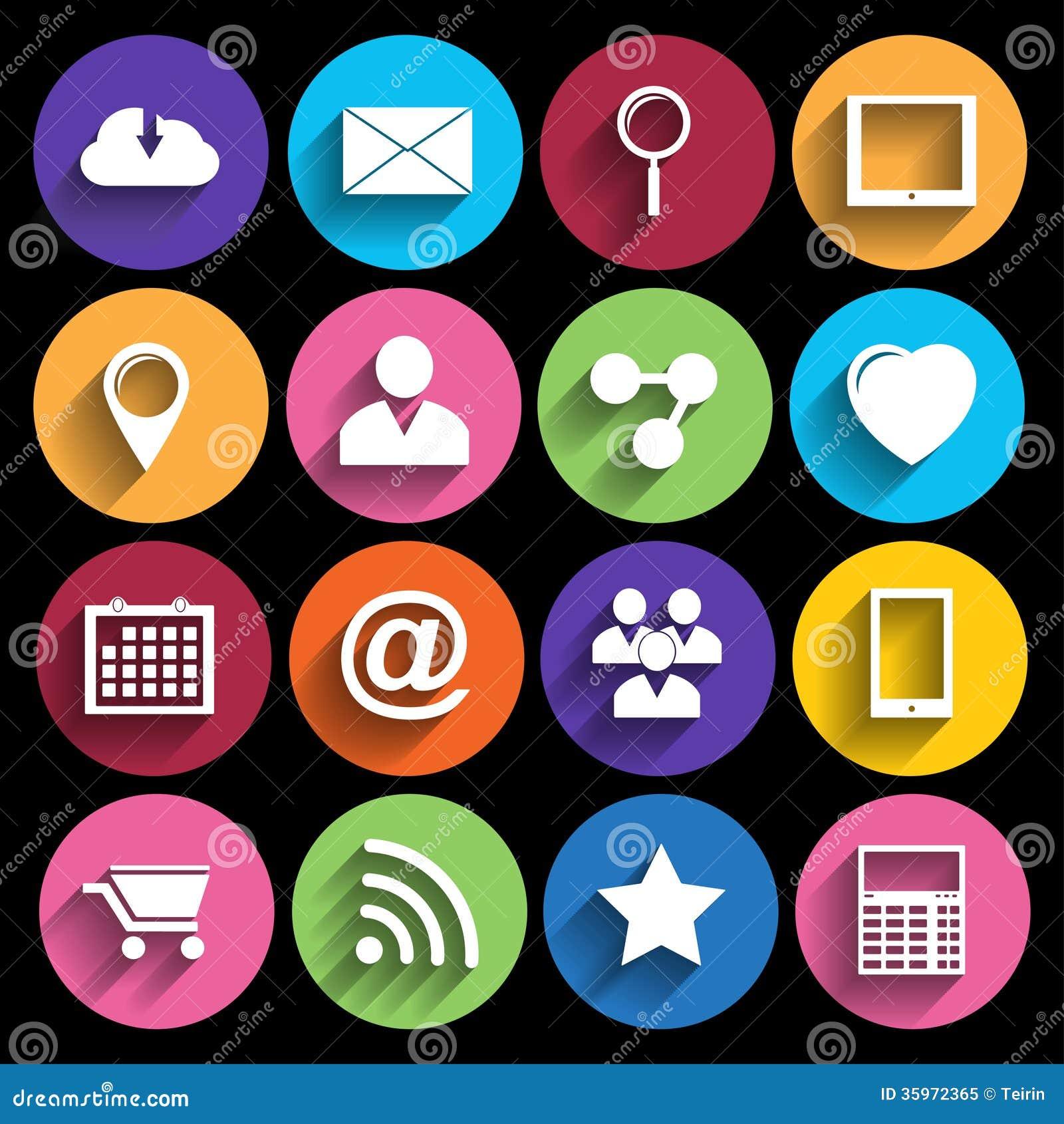 Iconos del web fijados en diseño plano