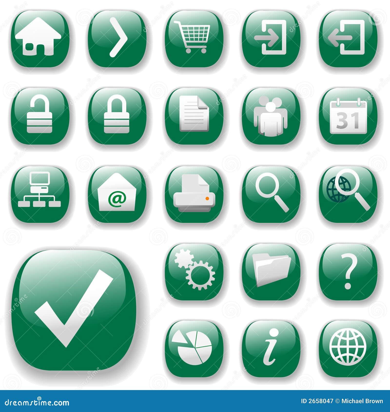 Iconos del Web Fijar-Verdes