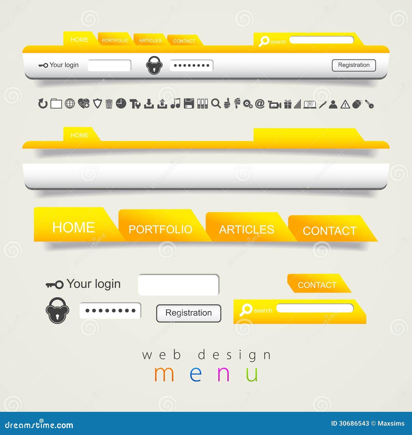 Iconos determinados de la navegación del diseño web