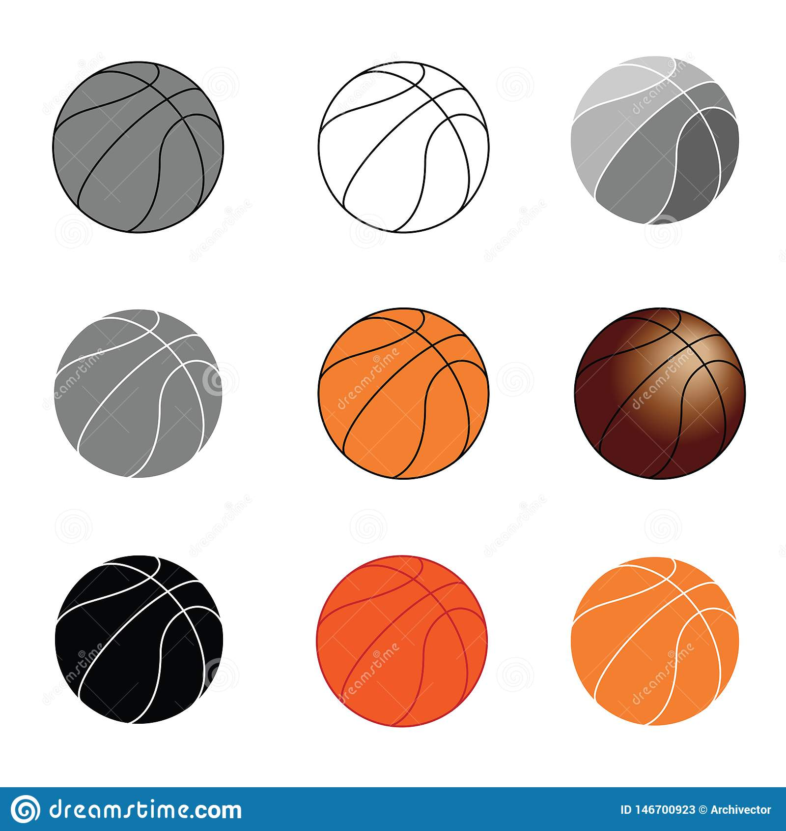 Iconos determinados de las bolas del baloncesto