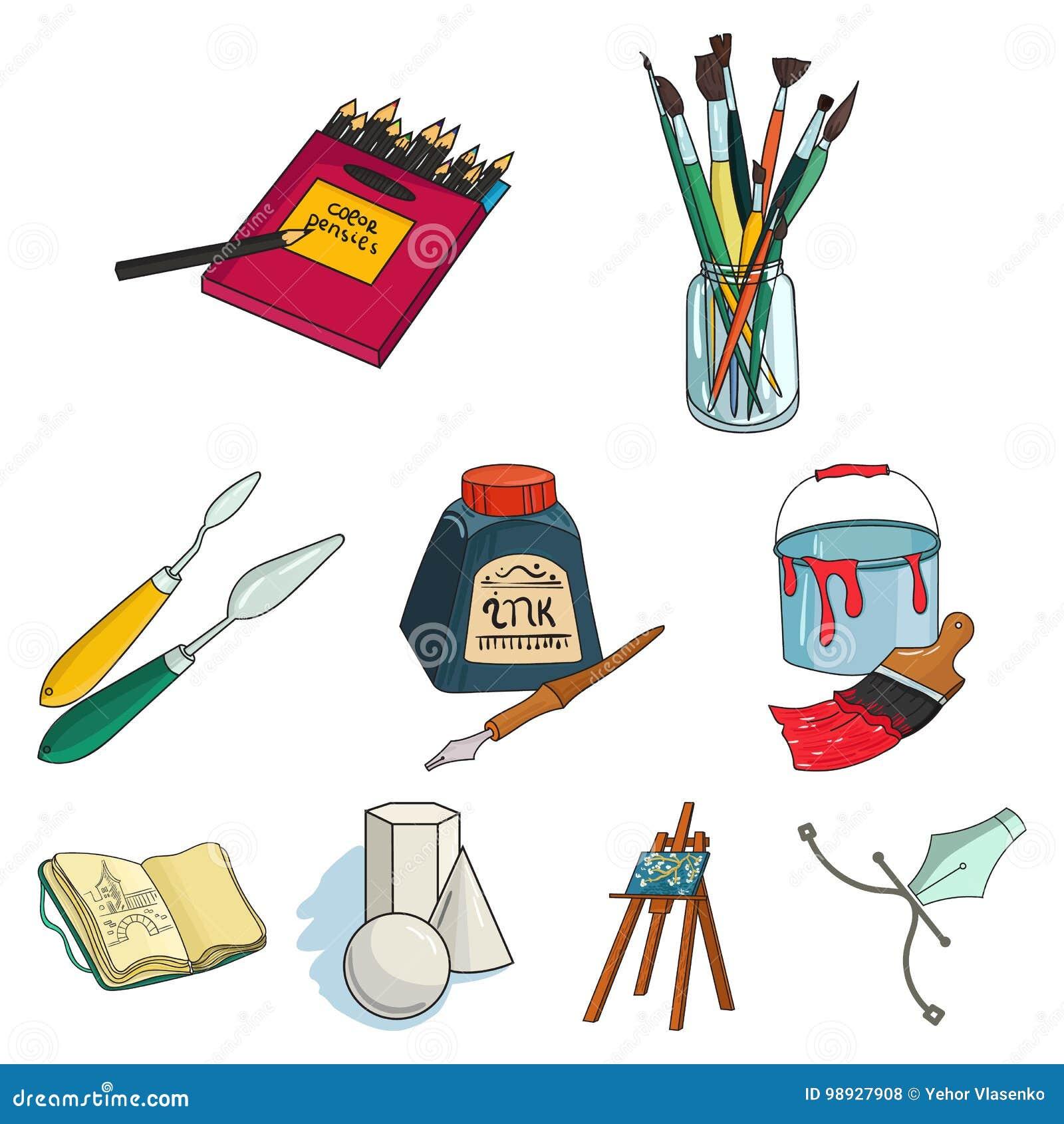 Iconos determinados del artista y del dibujo en estilo de la historieta La colección grande de artista y el dibujo vector el ejem