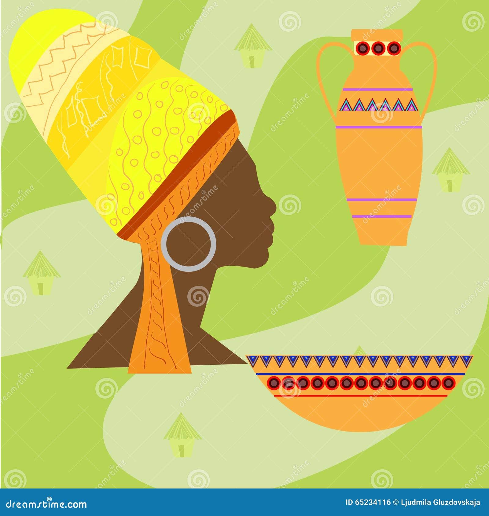 Iconos determinados del vector del safari de África Objetos rituales