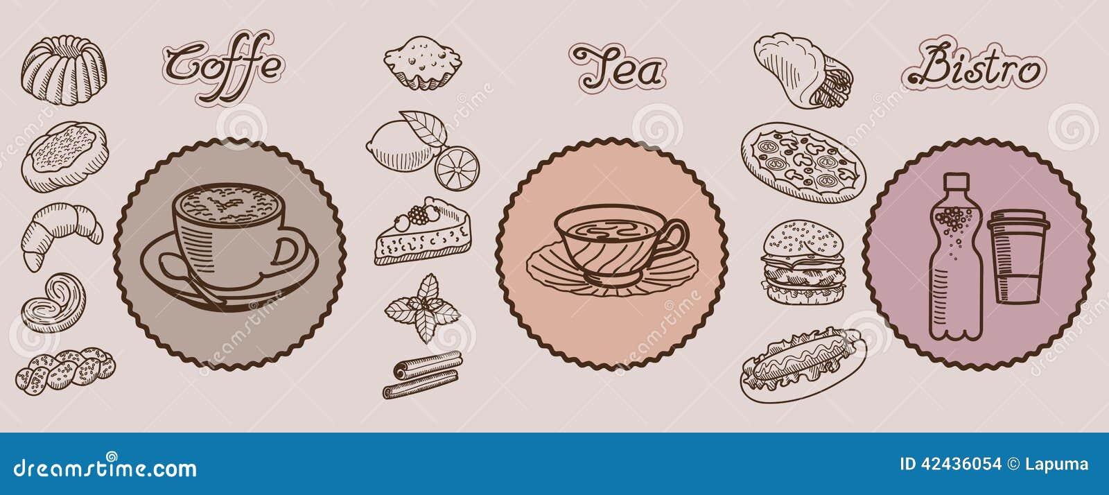 Iconos dibujados mano del vector de los bistros del té de Coffe
