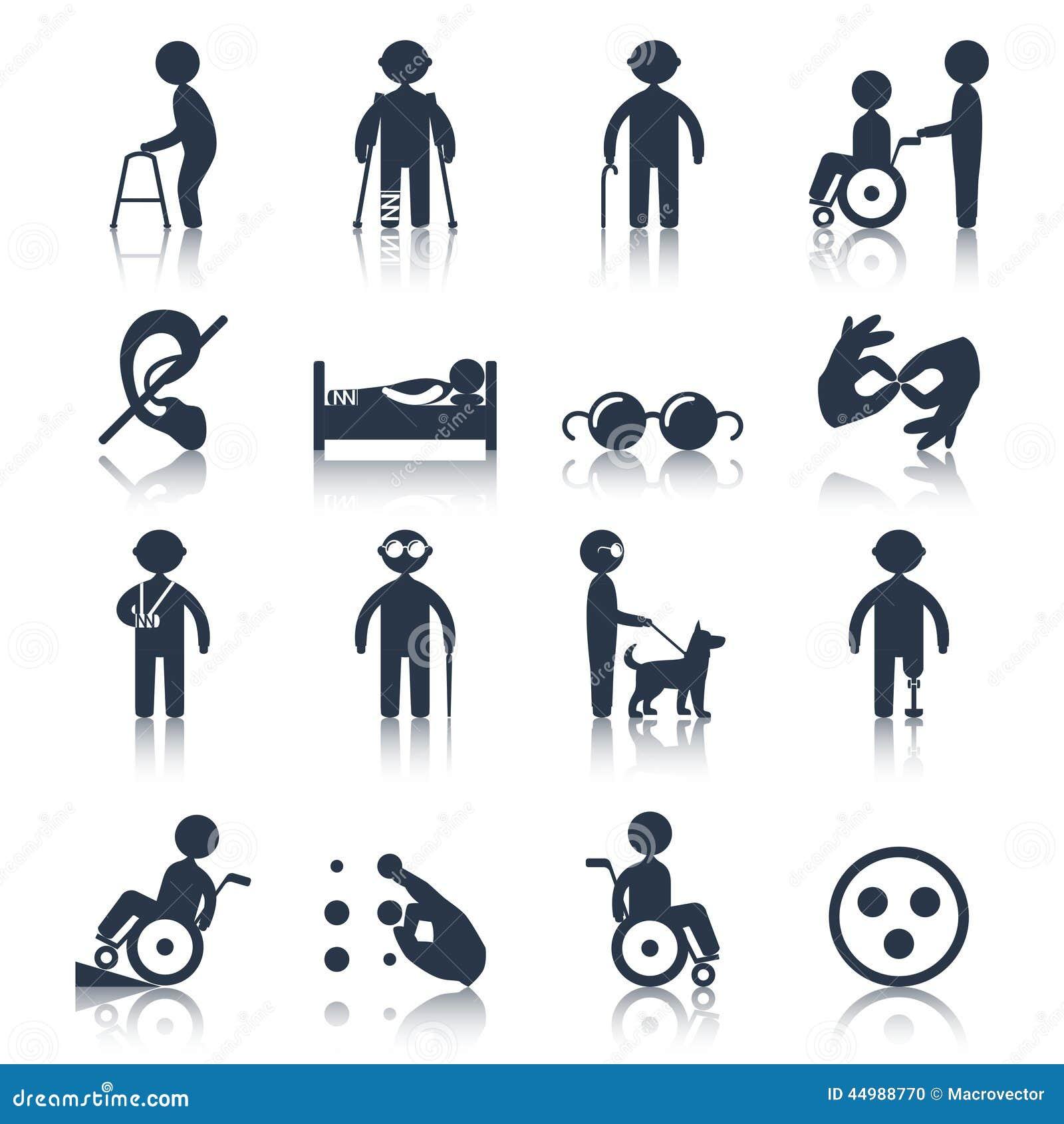 Iconos Discapacitados Fijados Negros Ilustración del ...