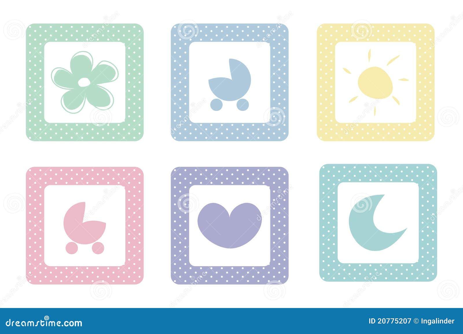 Colores Bebe.Iconos Dulces En Colores Pastel Del Bebe Con Los Puntos De