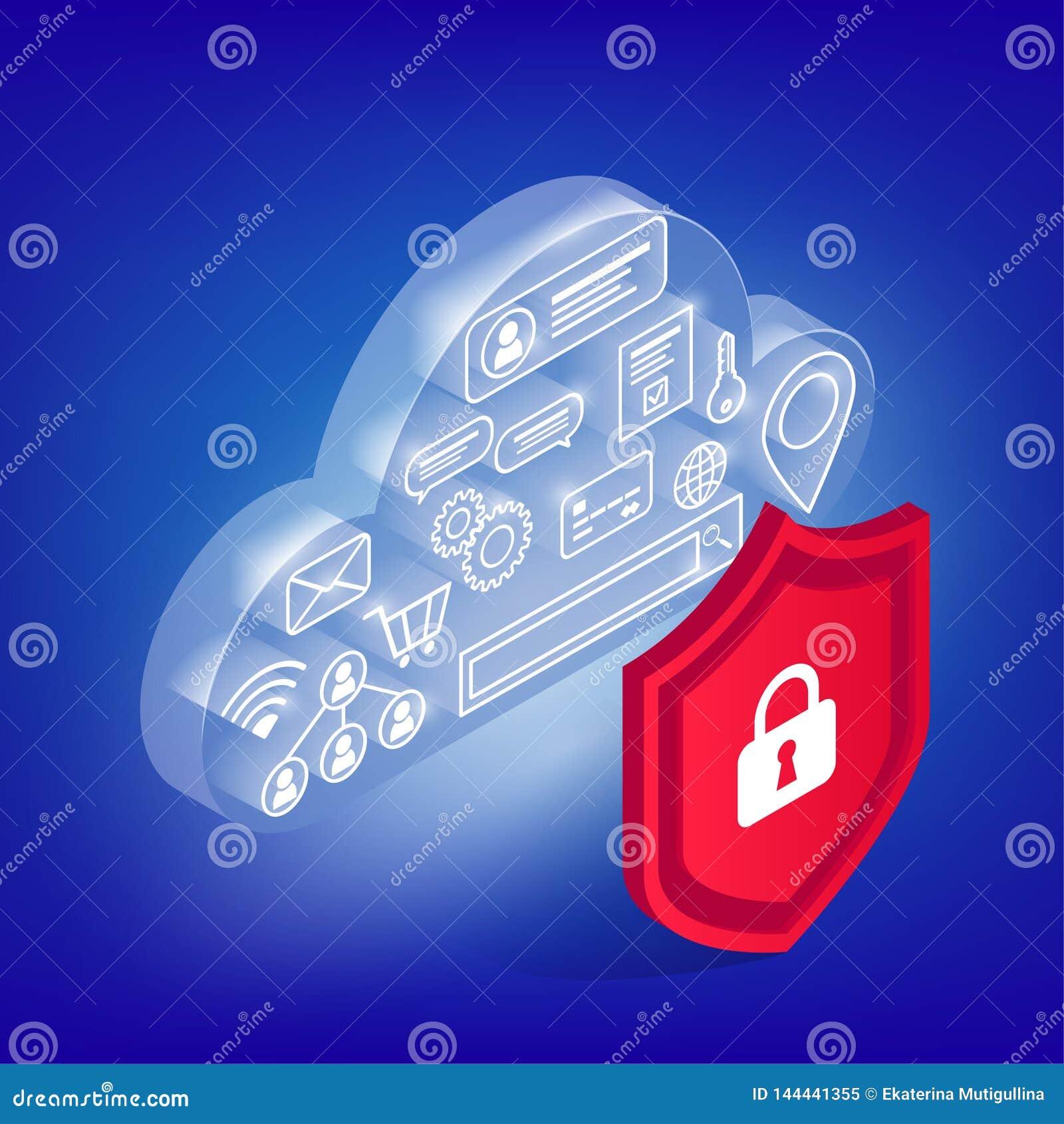 Iconos en nube cibernética que brilla intensamente