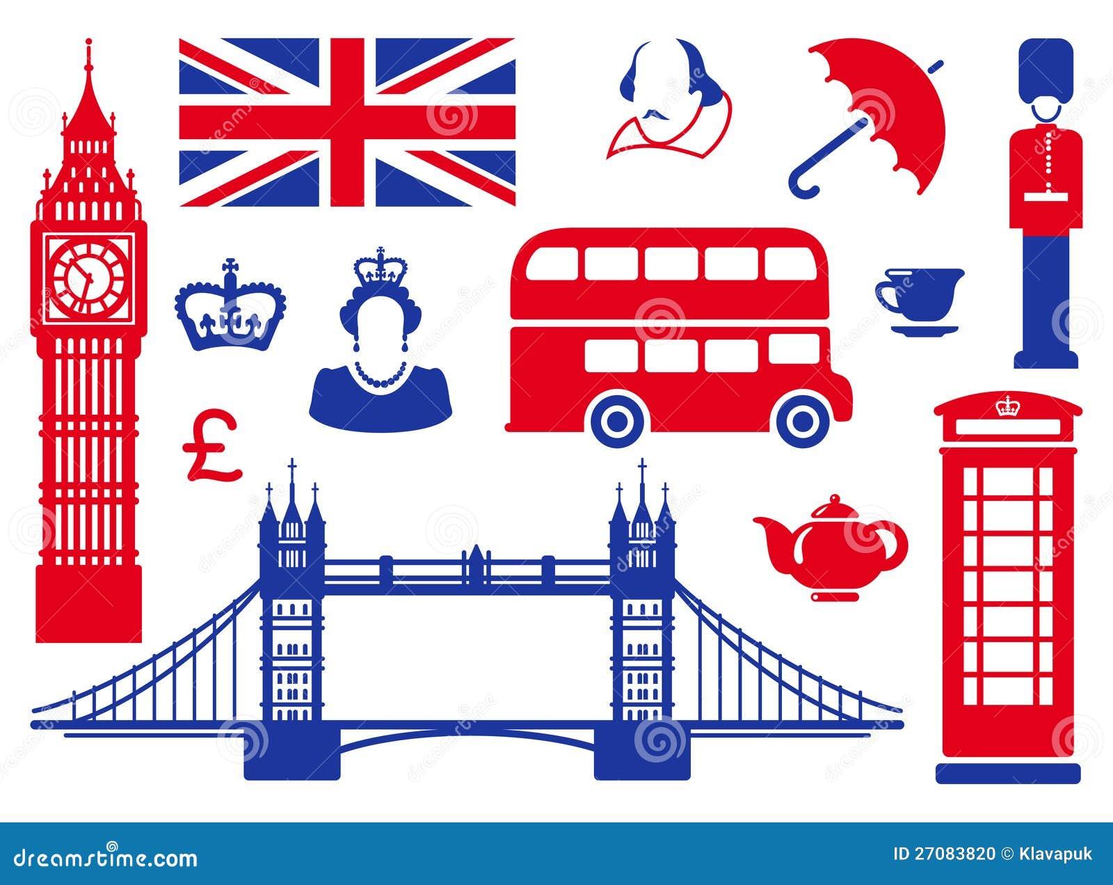 Iconos en un tema de Inglaterra