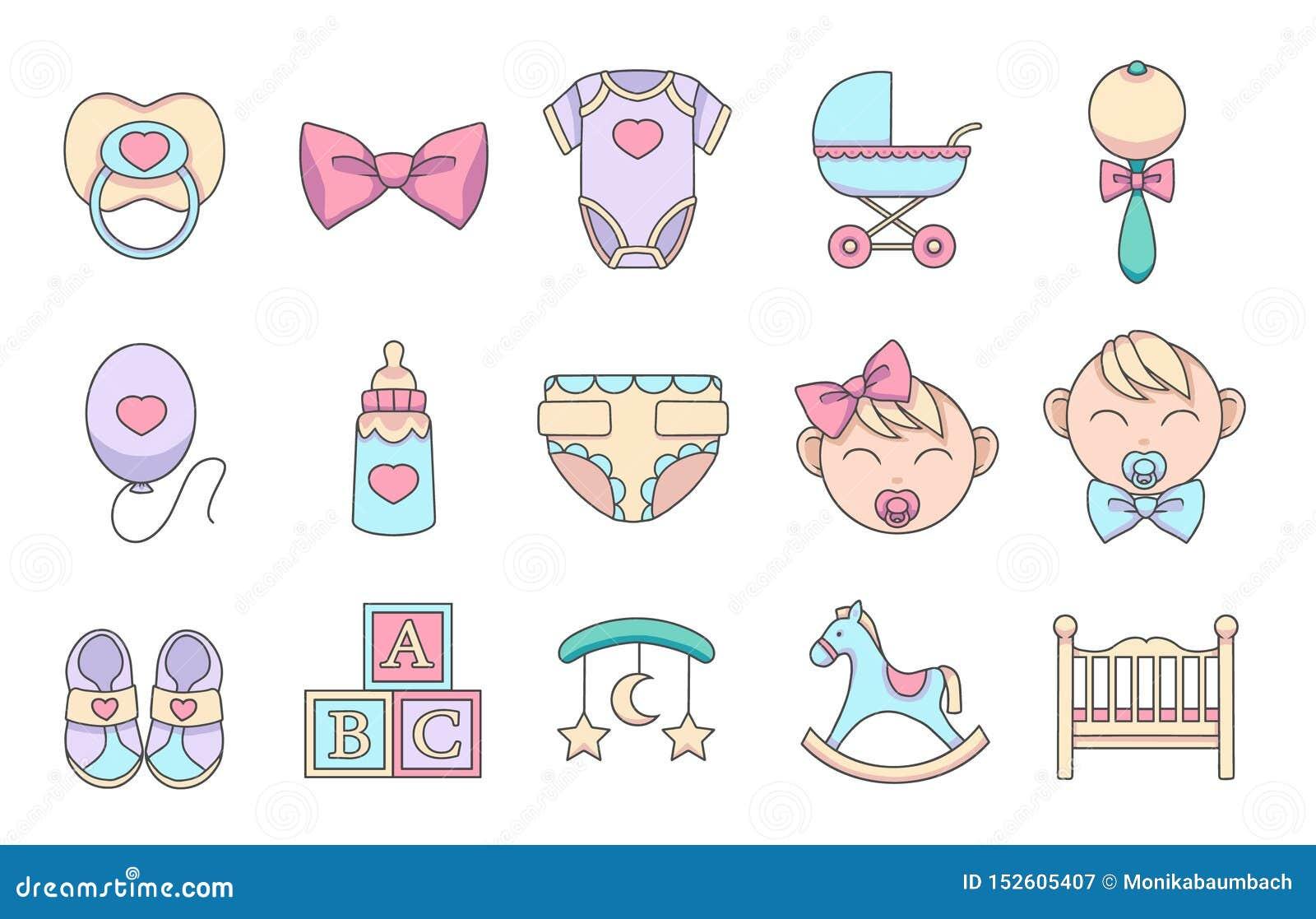 Iconos exhaustos del vector de la historieta de la mano fijados para crear el infographics relacionado con los niños y los bebés,