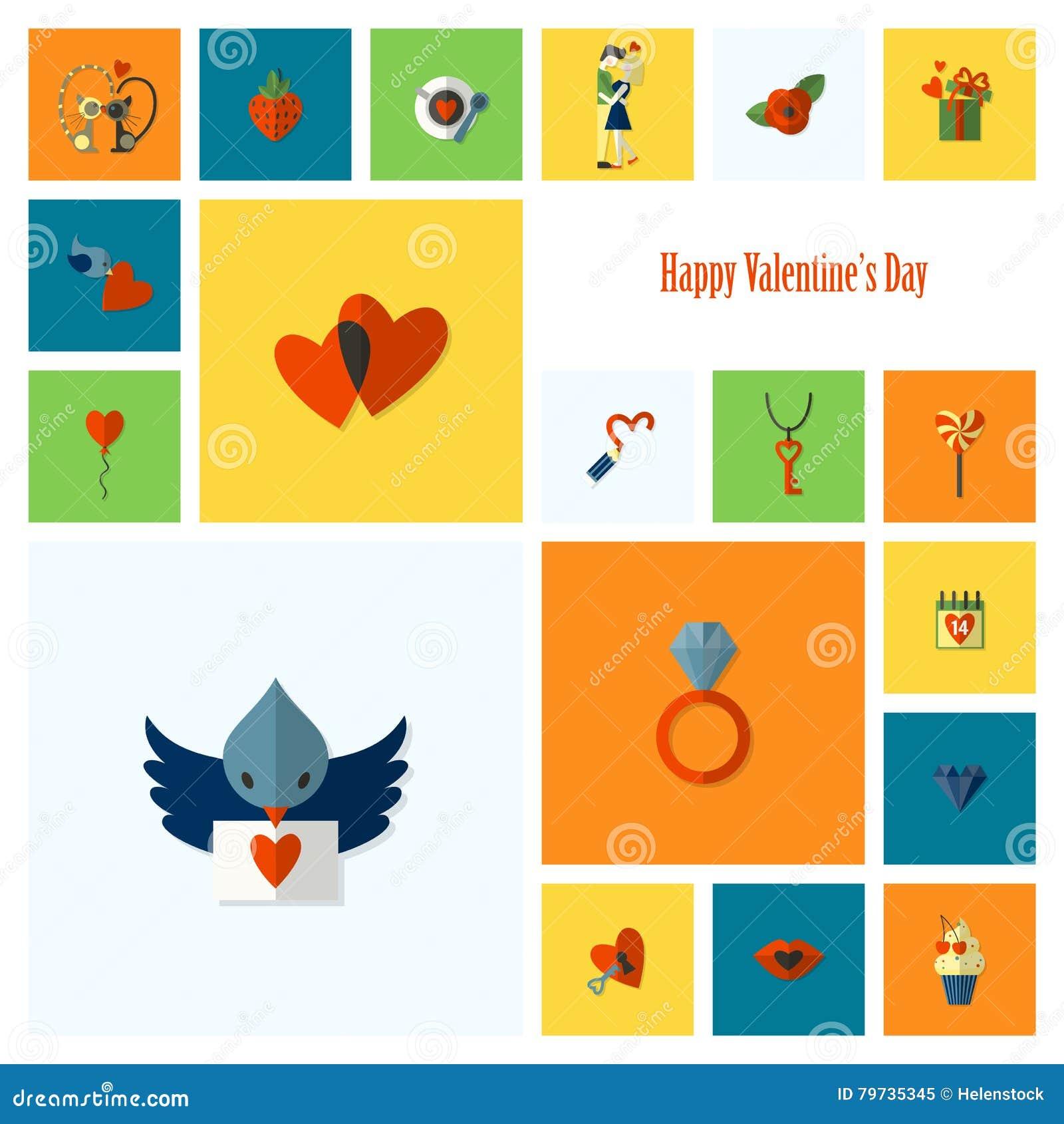 Iconos felices del día de tarjetas del día de San Valentín