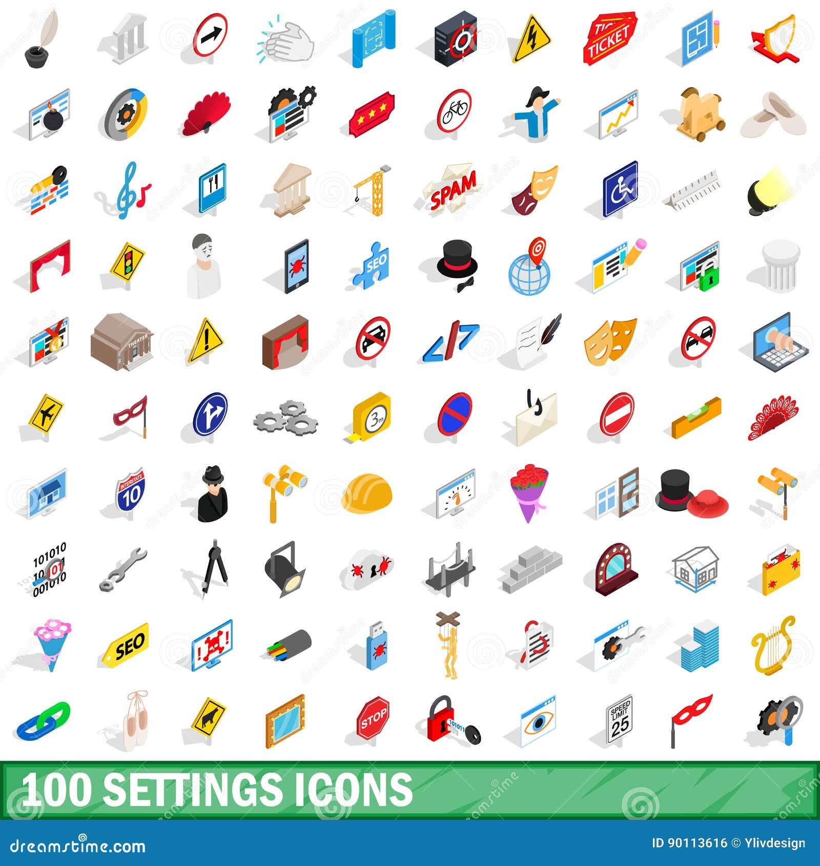 100 iconos fijados, de los ajustes estilo isométrico 3d